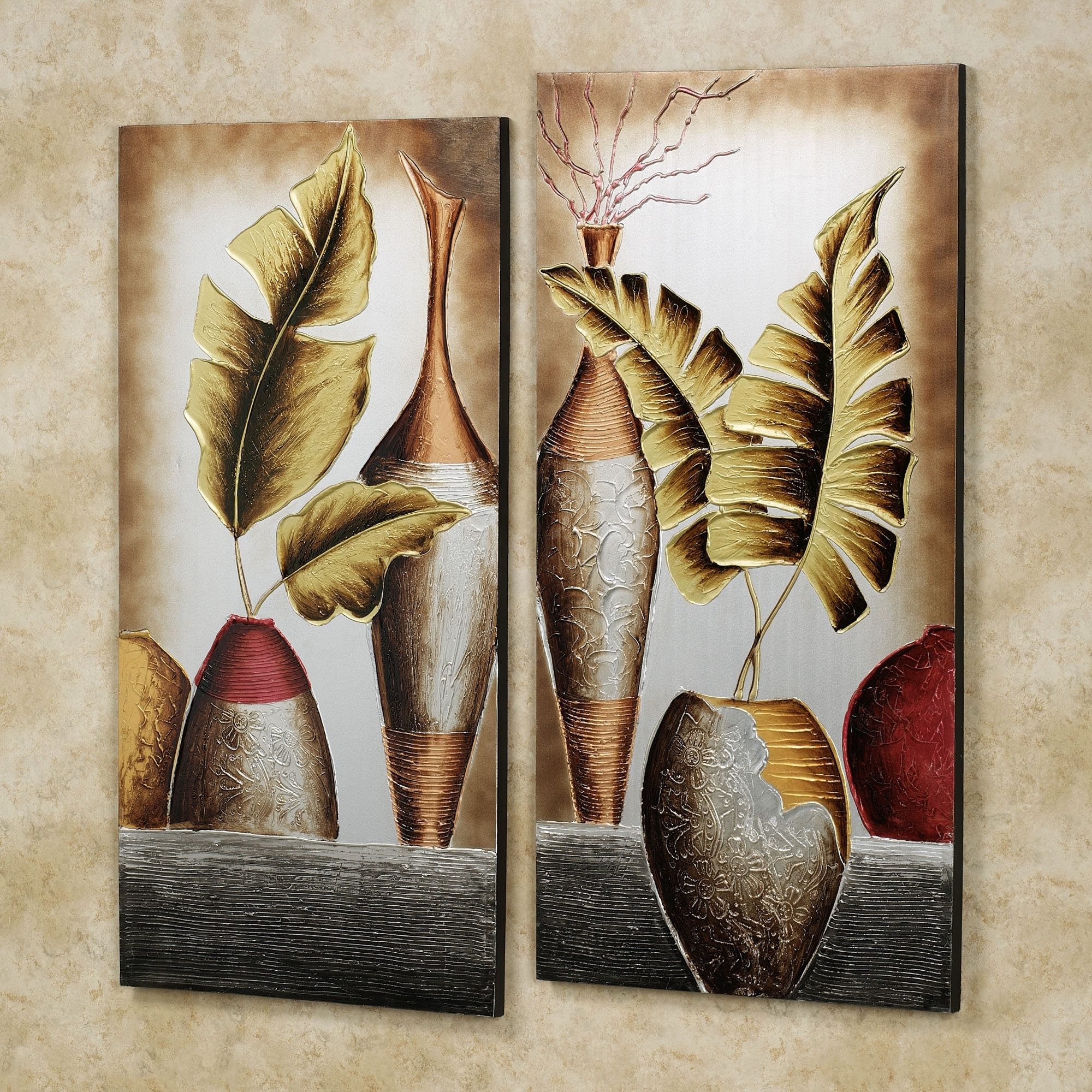 Leaves Canvas Wall Art Throughout Well Known Wall Art Designs: Wall Art Set Canvas Wall Art Set Unique Modern (View 11 of 15)