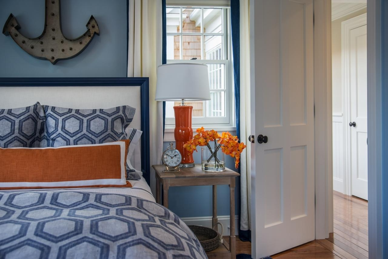Light Blue Wall Accents In Recent Killer Nautical Blue And Orange Bedroom Decoration Using Anchor (View 7 of 15)