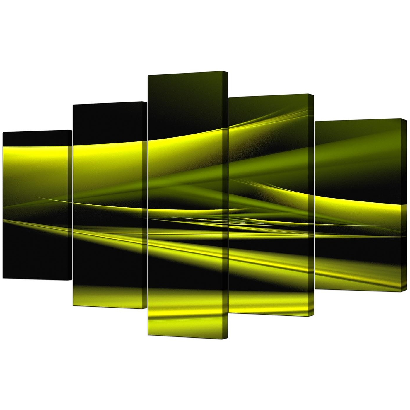 Lime Green Canvas Wall Art With Regard To Fashionable Extra Large Green Abstract Canvas Prints – 5 Piece (View 5 of 15)