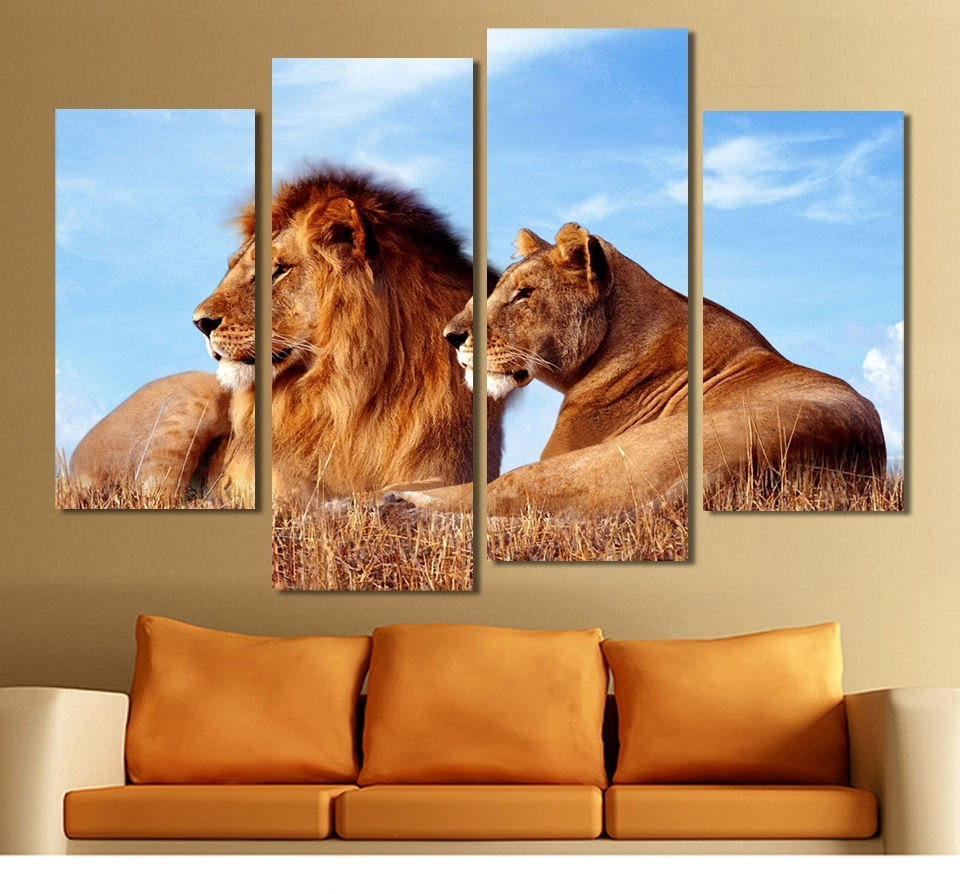 Lion King Canvas Wall Art Inside Most Recently Released Aliexpress : Buy 4 Panels Lion King Abstract Paintings On (Gallery 4 of 15)