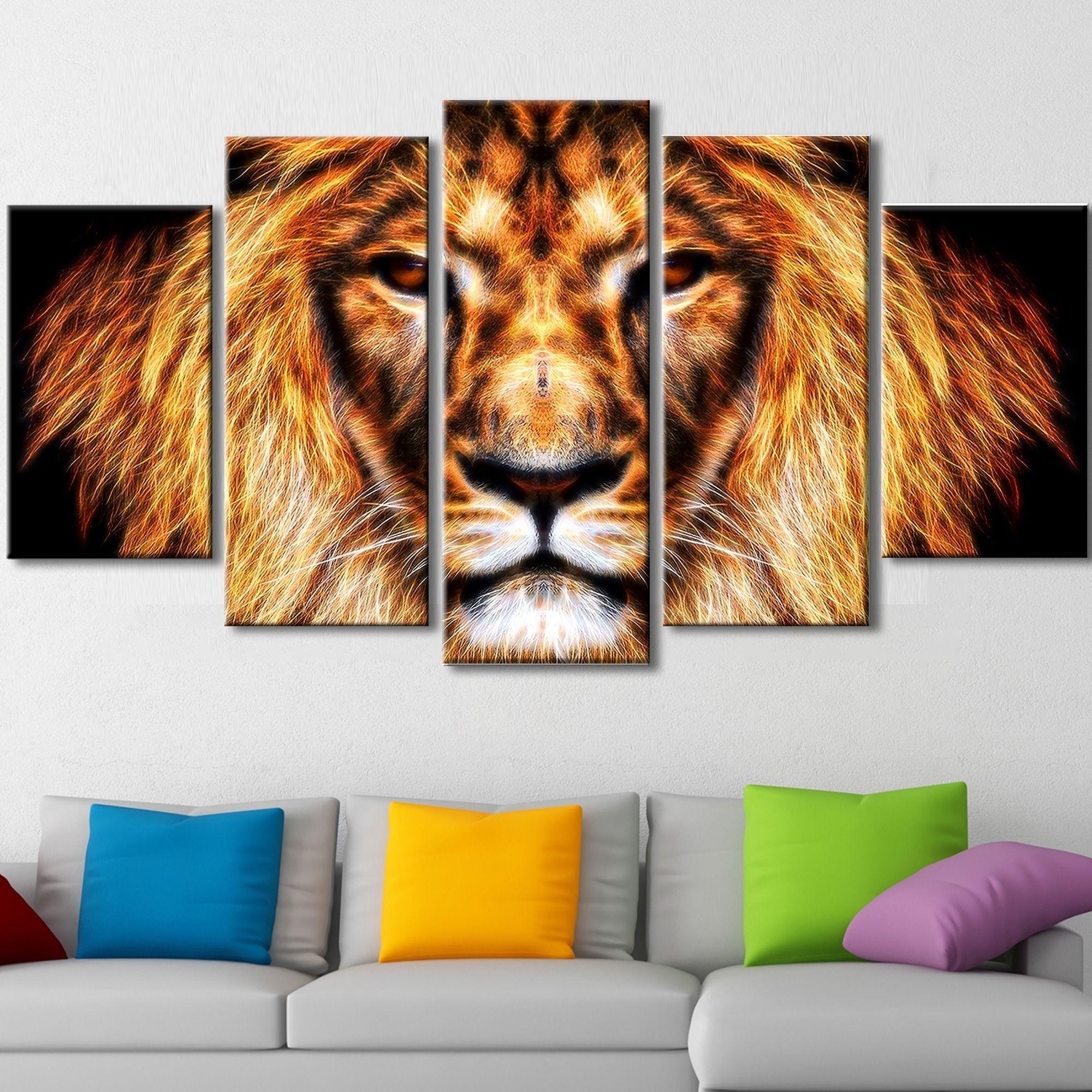 Lion King Canvas Wall Art Throughout Favorite Li>hear Him Roar – Lion Animal Canvas – Multiple Sizes</li> <li (View 8 of 15)