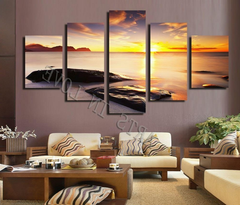 Living Room Canvas Wall Art For Preferred Hot Sell Diamond Sunset Beach Stone Modern Home Wall Decor Canvas (View 4 of 15)