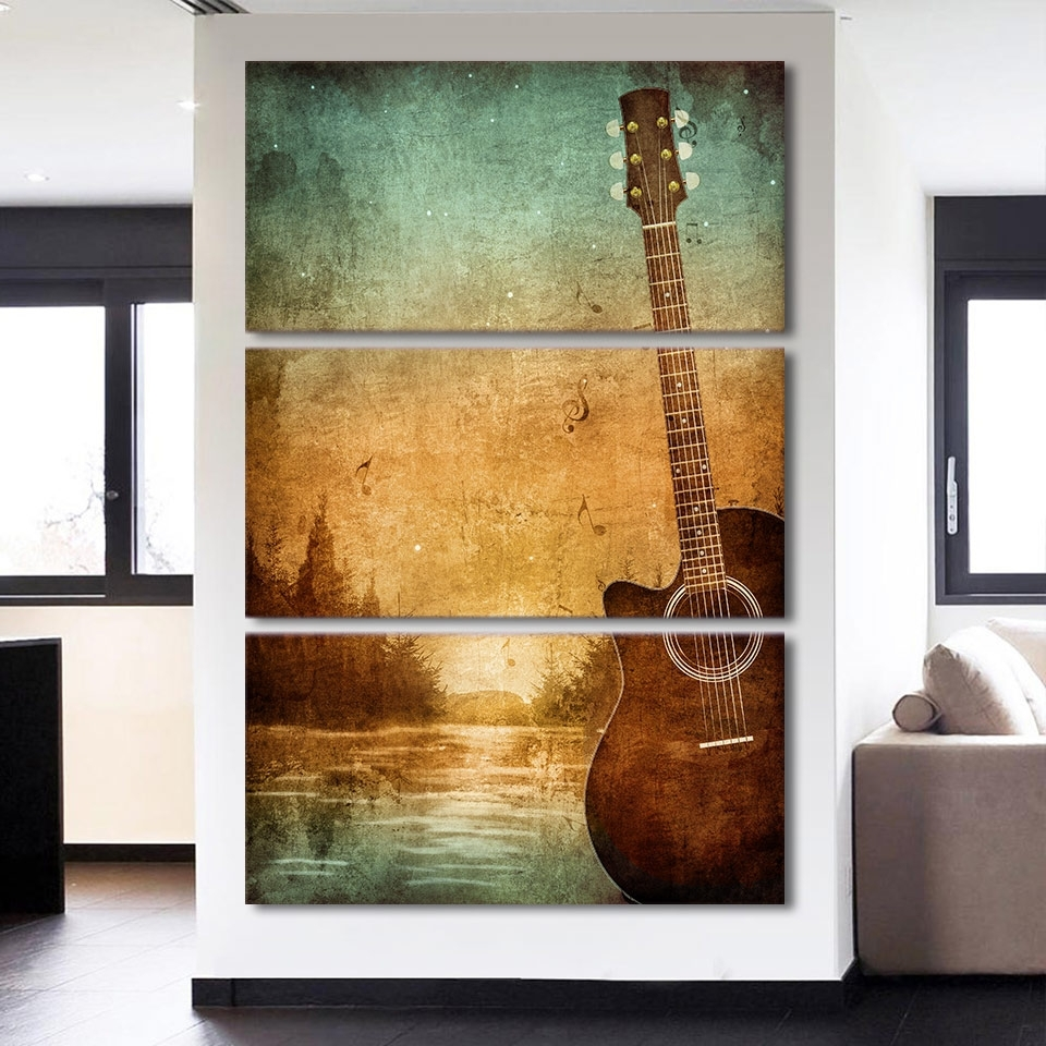 Living Room Canvas Wall Art Regarding Current 3 Piece Printed Canvas Wall Art Acoustic Guitar Lovers Pictures (Gallery 13 of 15)