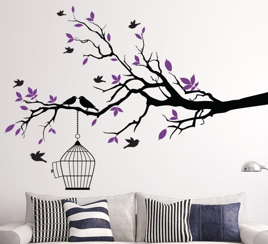 Living Room : Stunning Vinyl Wall Decal Decorating Ideas With Inside Current Fabric Bird Wall Art (View 11 of 15)