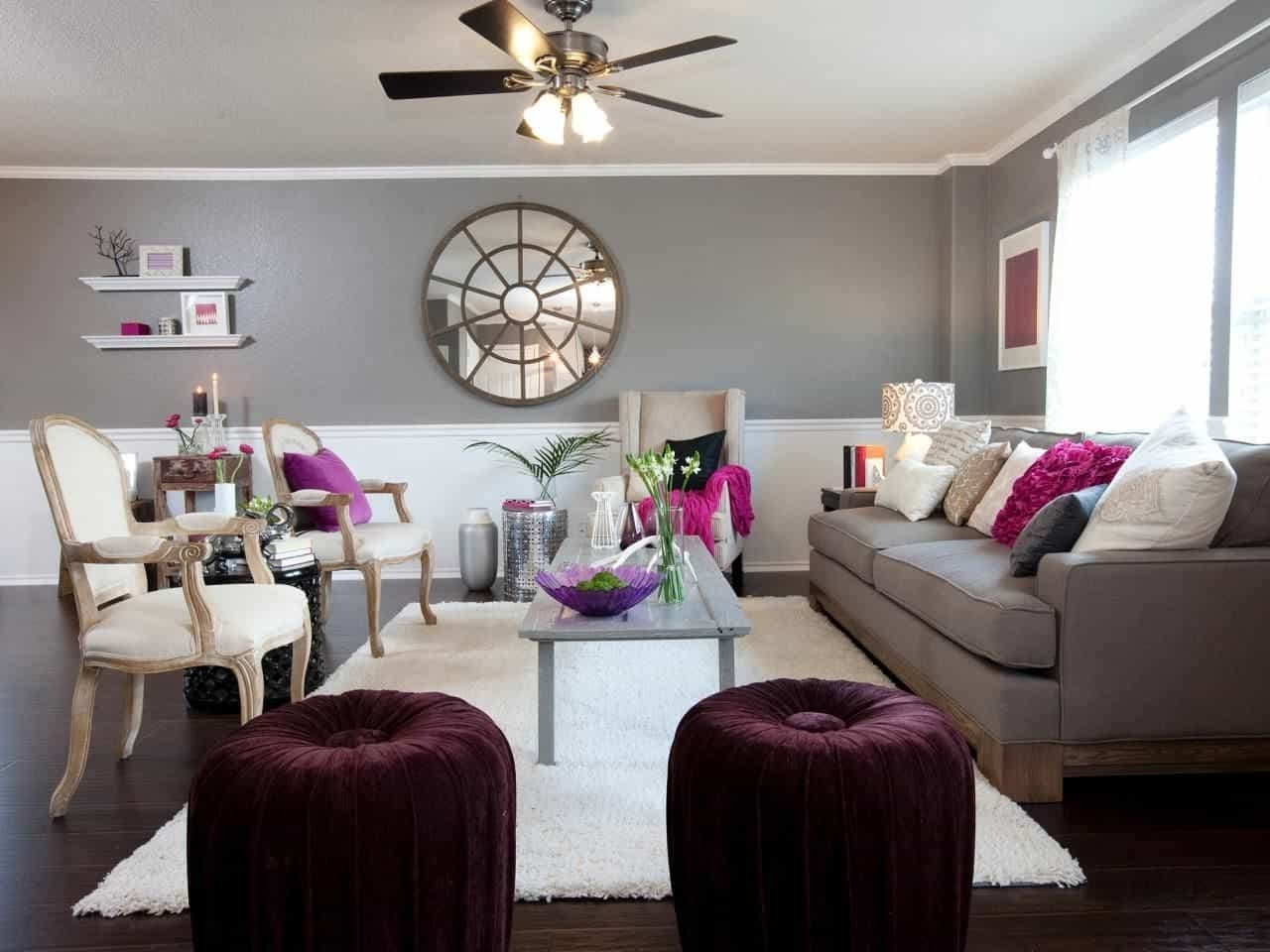 Living Room With Grey Wall Colors And Purple Accents – Colors That Pertaining To Widely Used Wall Colors And Accents (View 5 of 15)