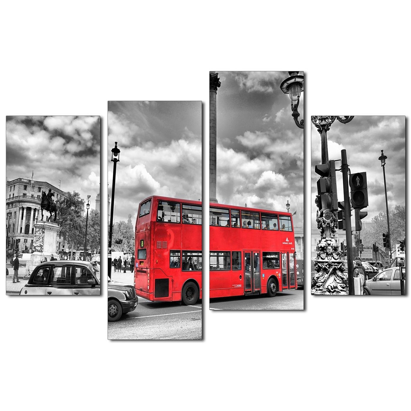 London Canvas Wall Art Intended For Well Known City London Canvas Prints Of Red Bus In Black & White For Living Room (View 14 of 15)