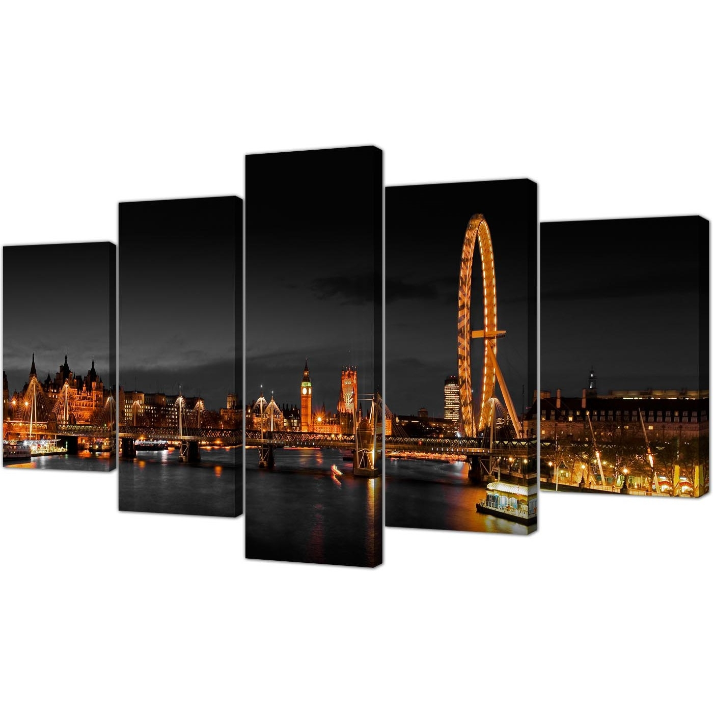 London Eye Canvas Prints Uk Night For Your Living Room – Set Of Five Within Best And Newest London Canvas Wall Art (View 11 of 15)