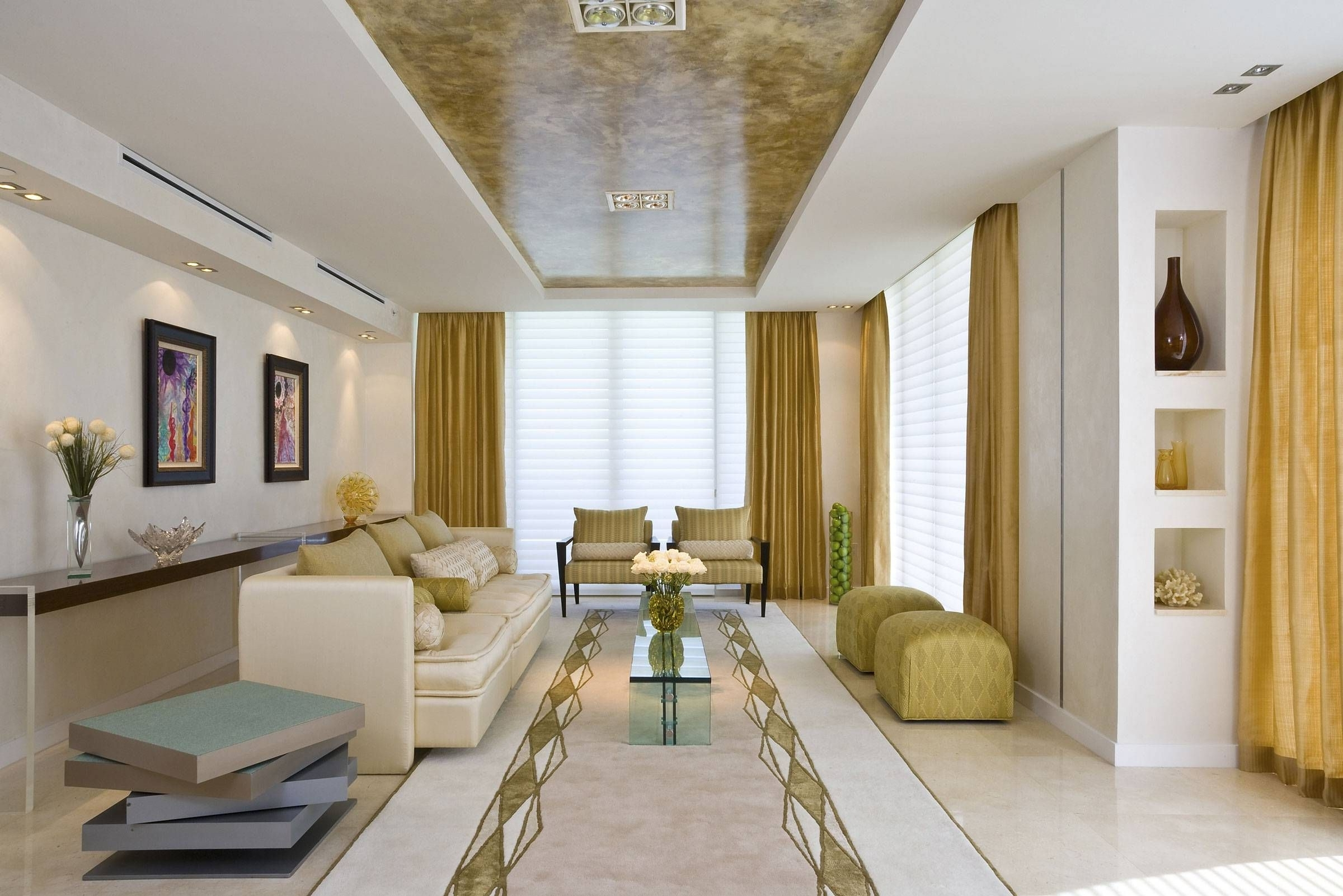 Long Narrow Family Room Layout With Gold Interior Design Trend And Regarding Favorite Wall Accents For Narrow Room (View 14 of 15)