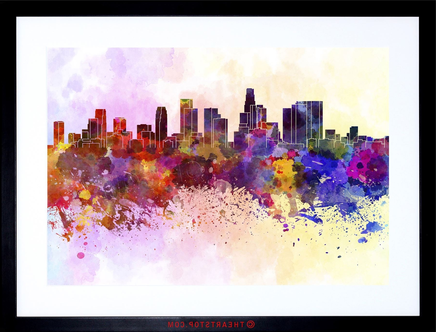 Los Angeles Framed Art Prints Intended For Recent Painting Cityscape Paint Splash Skyline Los Angeles Framed Print (View 5 of 15)