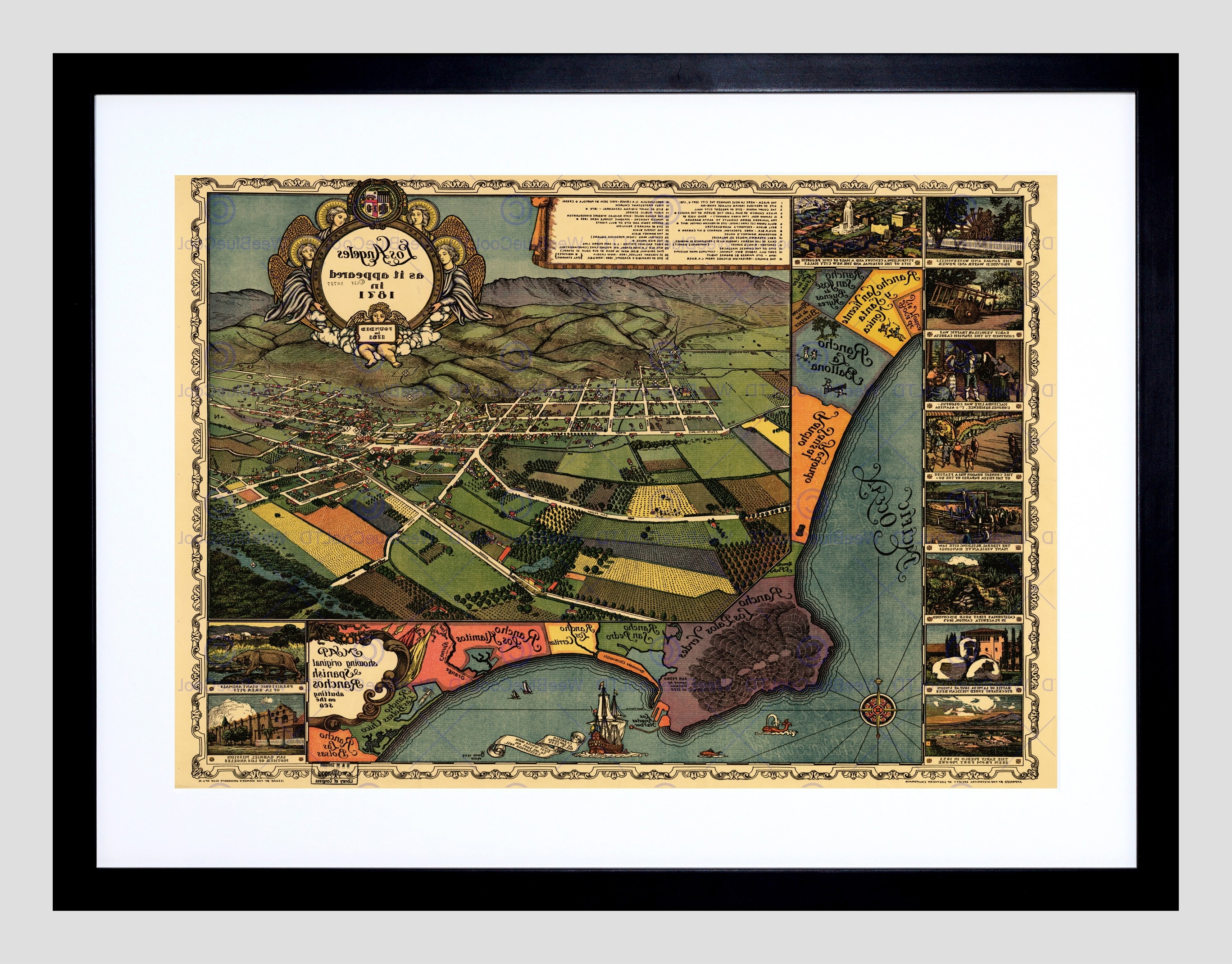 Los Angeles Framed Art Prints Throughout Current Map Los Angeles 1871 Vintage Framed Art Print Poster F12X (View 6 of 15)