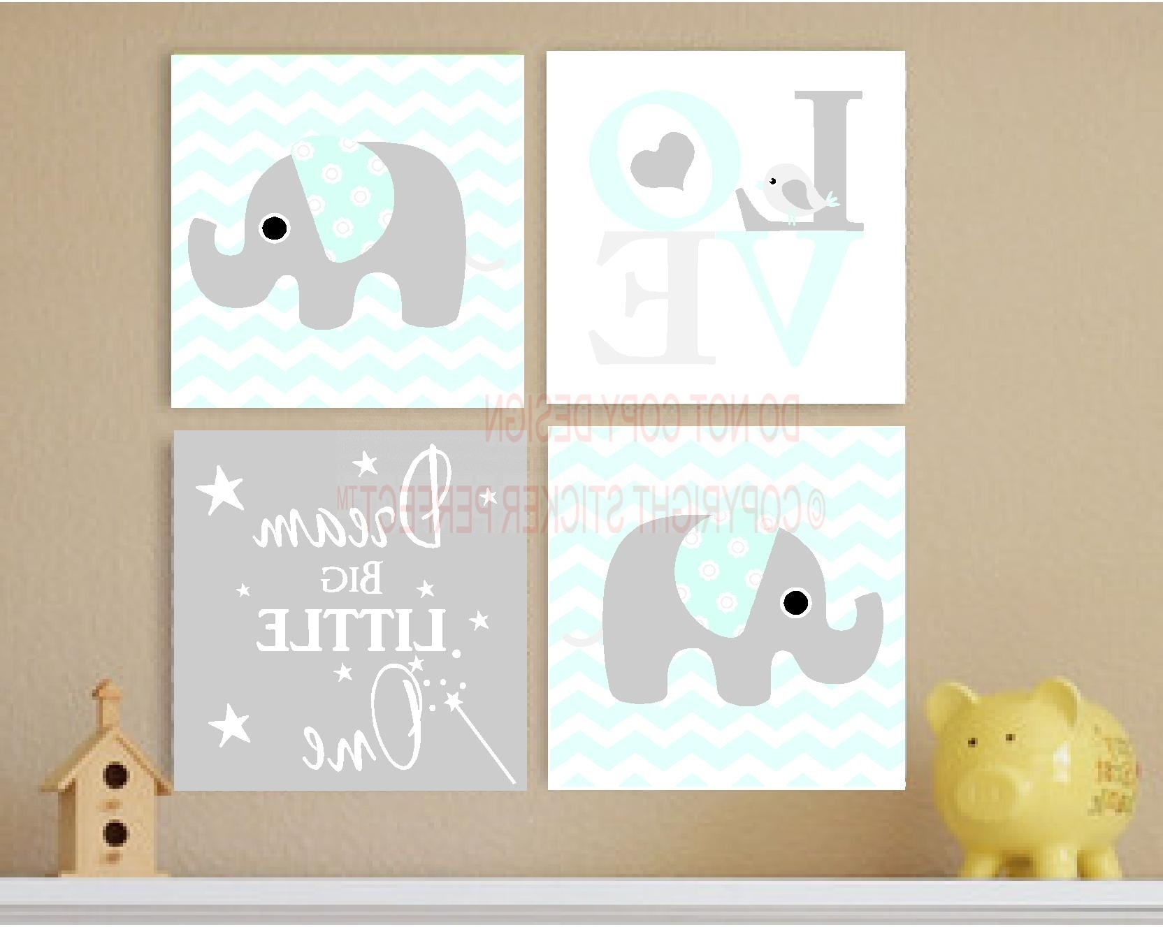 Love Canvas Wall Art Pertaining To Well Known Framed Canvas Print Love 4 Piece Set Cute Elephant Bird (View 12 of 15)