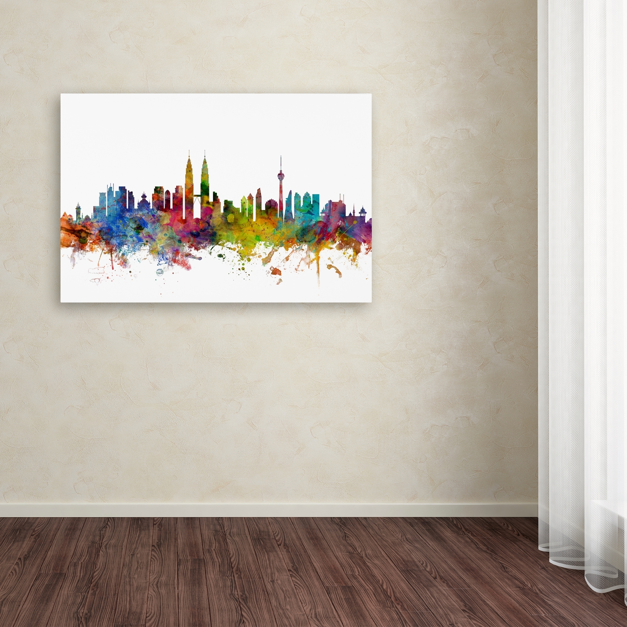 Malaysia Canvas Wall Art For Newest Michael Tompsett 'kuala Lumpur Malaysia Skyline Ii' Canvas Wall (View 7 of 15)