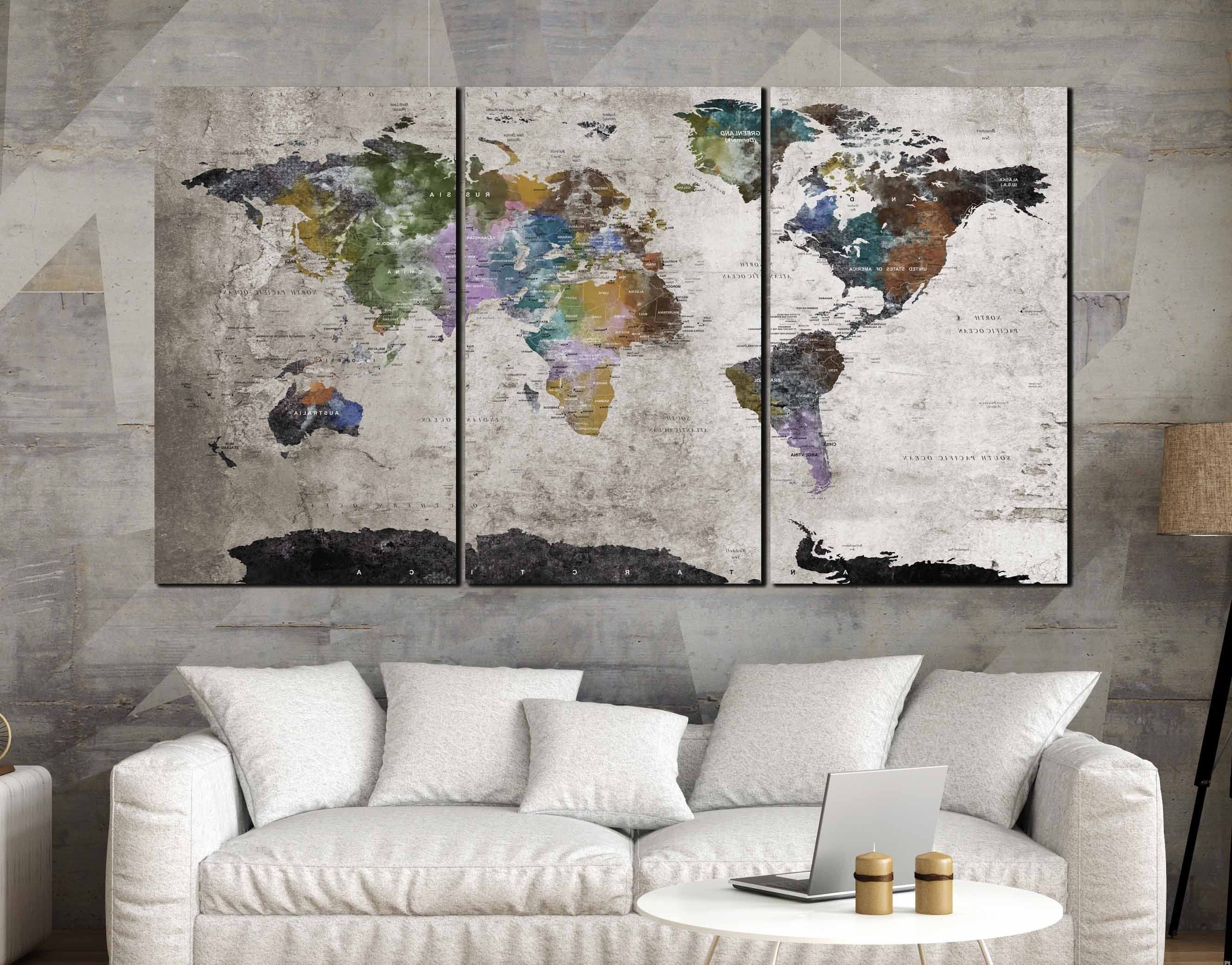 Malaysia Canvas Wall Art With Most Up To Date Highly Detailed World Map Wall Art,large World Map, World Map (View 10 of 15)