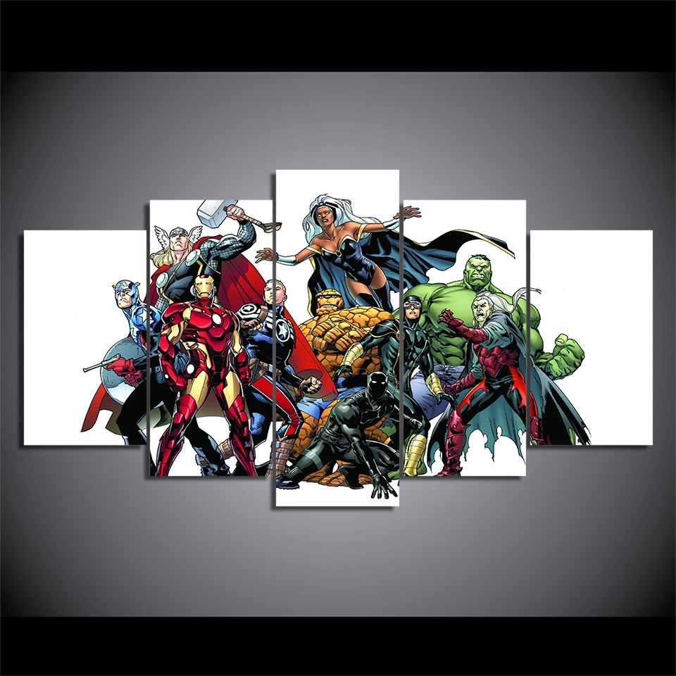 Marvel Canvas Wall Art With 2017 5 Pieces Canvas Prints Marvel Hero Comics Painting Wall Art Panels (View 9 of 15)