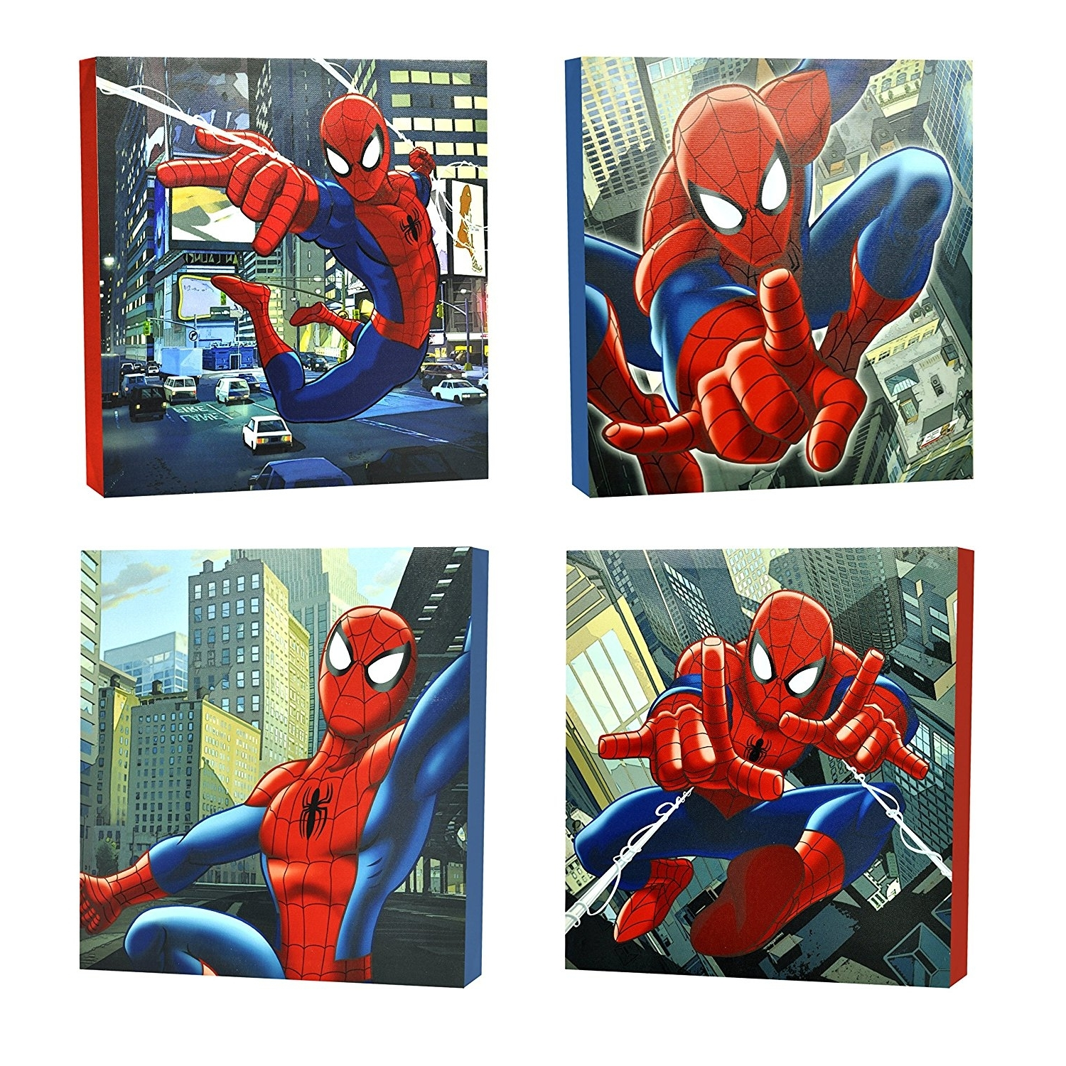 Marvel Canvas Wall Art With Well Known Amazon: Marvel Spider Man Canvas Wall Art (4 Piece): Toys & Games (View 10 of 15)