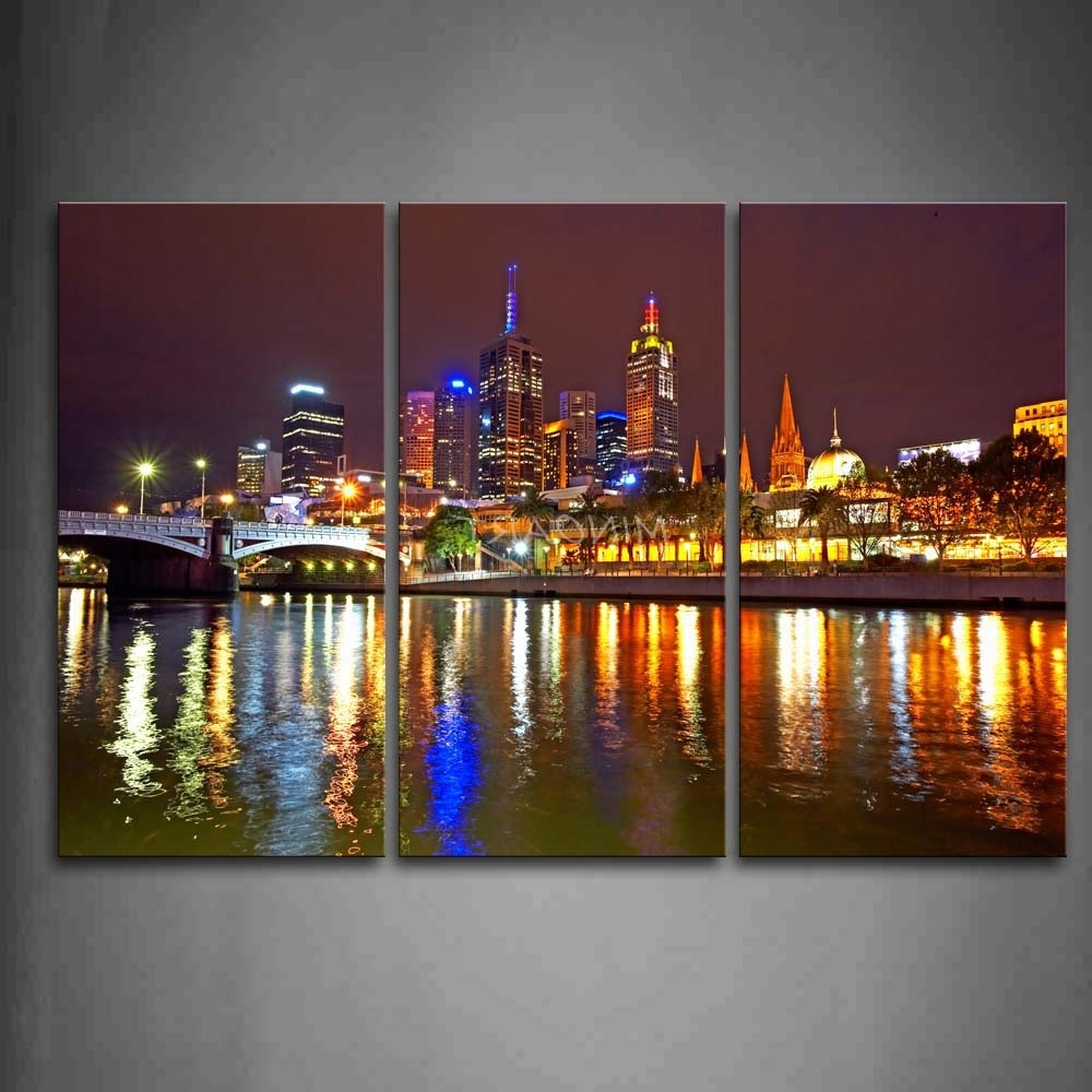 Melbourne Canvas Wall Art With Trendy 3 Piece Wall Art Painting Melbourne City Is Very Busy Print On (View 4 of 15)