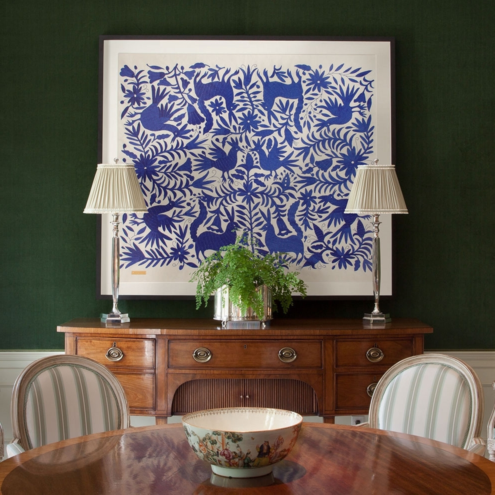 Mexican Fabric Wall Art Within Trendy Blue Otomí – Sublime Framed Textile (View 7 of 15)