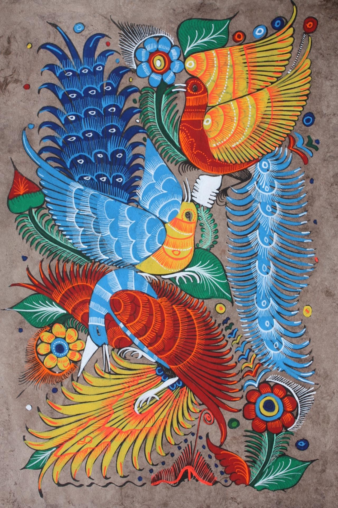 Mexican Painting Of Birds & Flowers Latin Folk Art Craft Home Within Most Recently Released Mexican Fabric Wall Art (View 8 of 15)