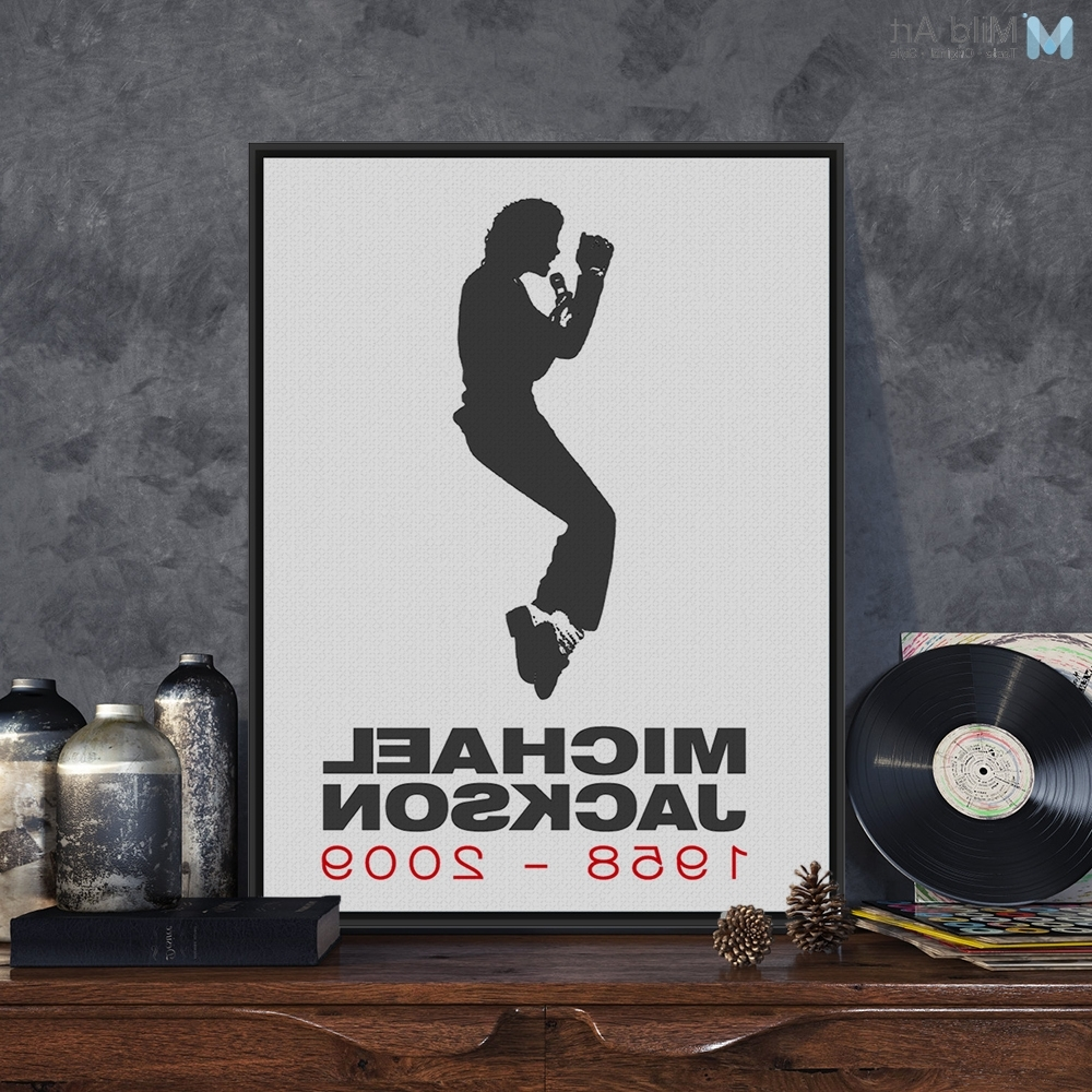 Michael Jackson Canvas Wall Art For Most Popular Michael Jackson Modern Black White Minimalist Poster Prints Retro (View 5 of 15)