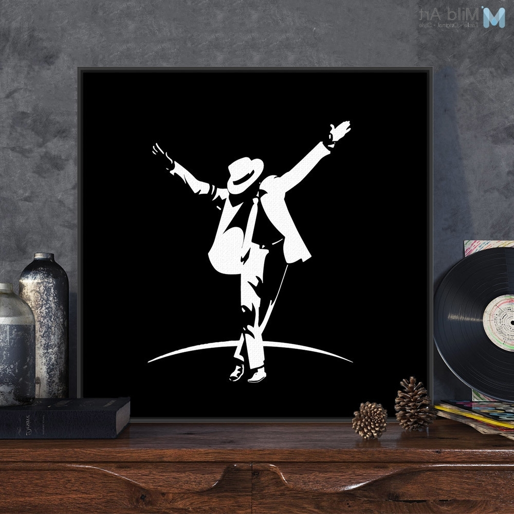 Michael Jackson Canvas Wall Art Regarding Best And Newest Modern Black White Pop Music Super Star Michael Jackson Canvas A (View 2 of 15)