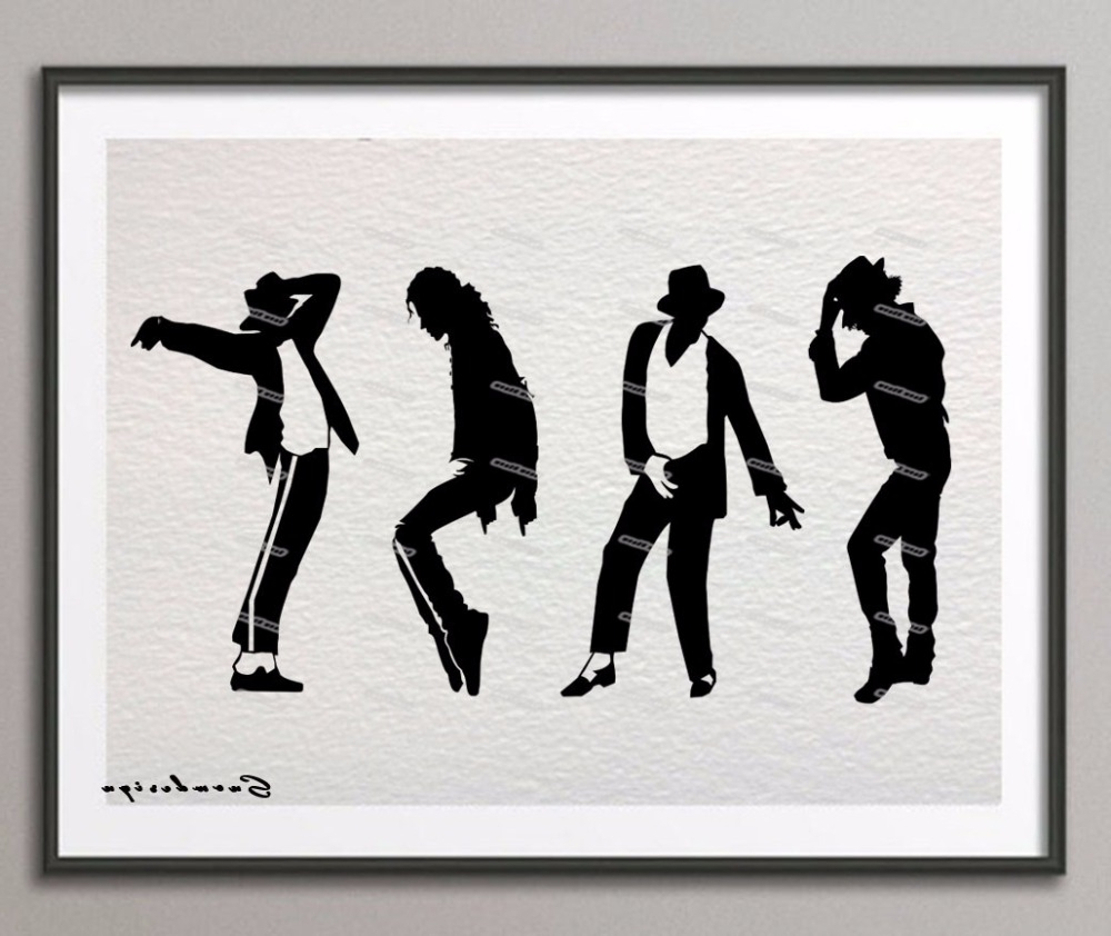 Michael Jackson Dance Silhouette Canvas Painting Pop Wall Art With Recent Michael Jackson Canvas Wall Art (View 11 of 15)