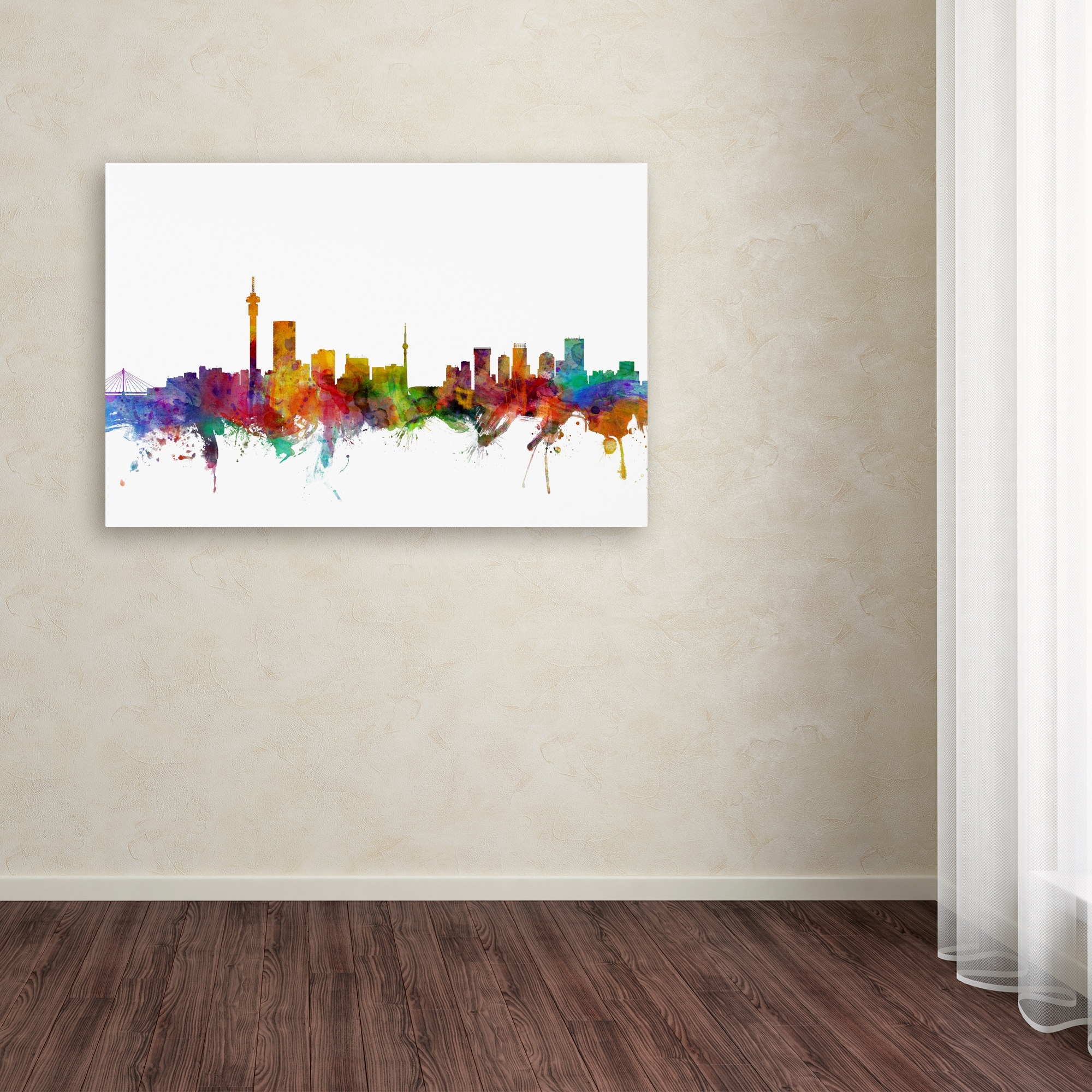 Michael Tompsett 'johannesburg South Africa Skyline' Canvas Wall Regarding Well Liked Johannesburg Canvas Wall Art (View 2 of 15)