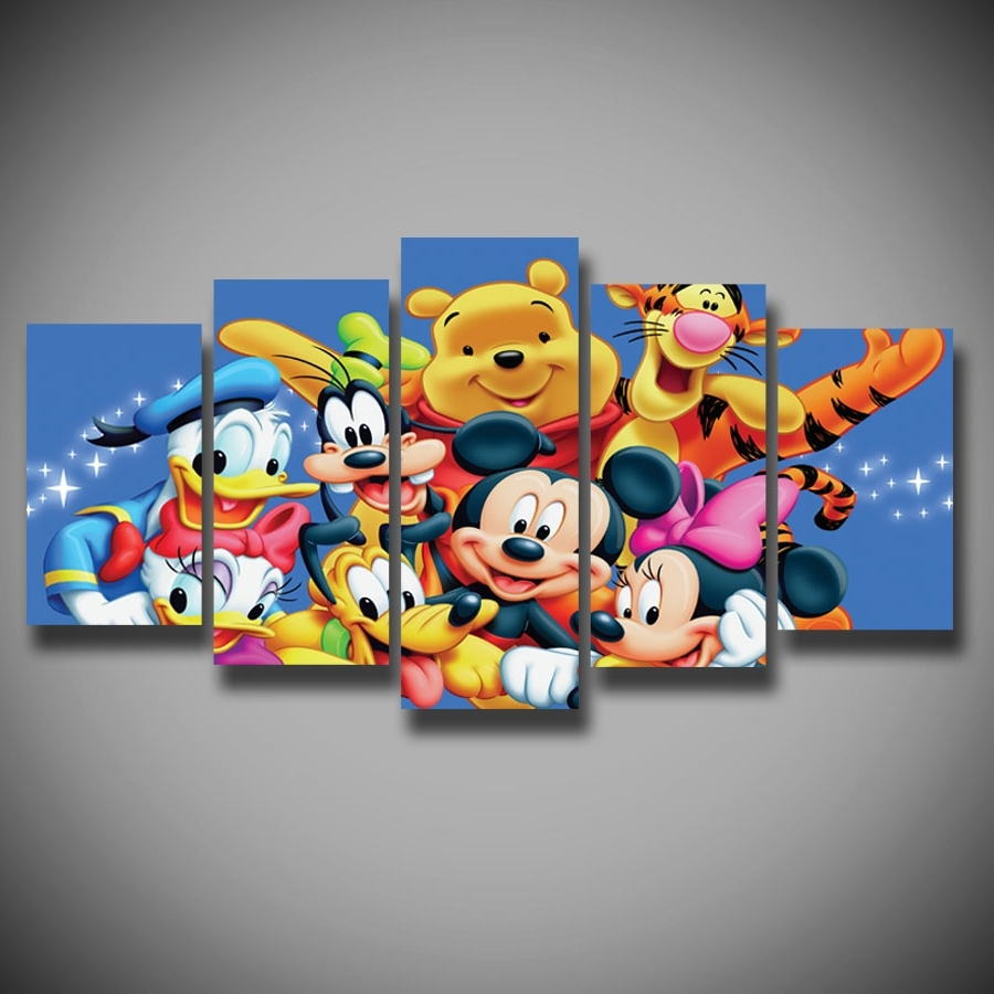 Mickey Mouse Canvas Wall Art With Regard To Trendy Printed Winnie The Pooh Piglet Tigger Donald Duck Mickey Mouse (View 7 of 15)