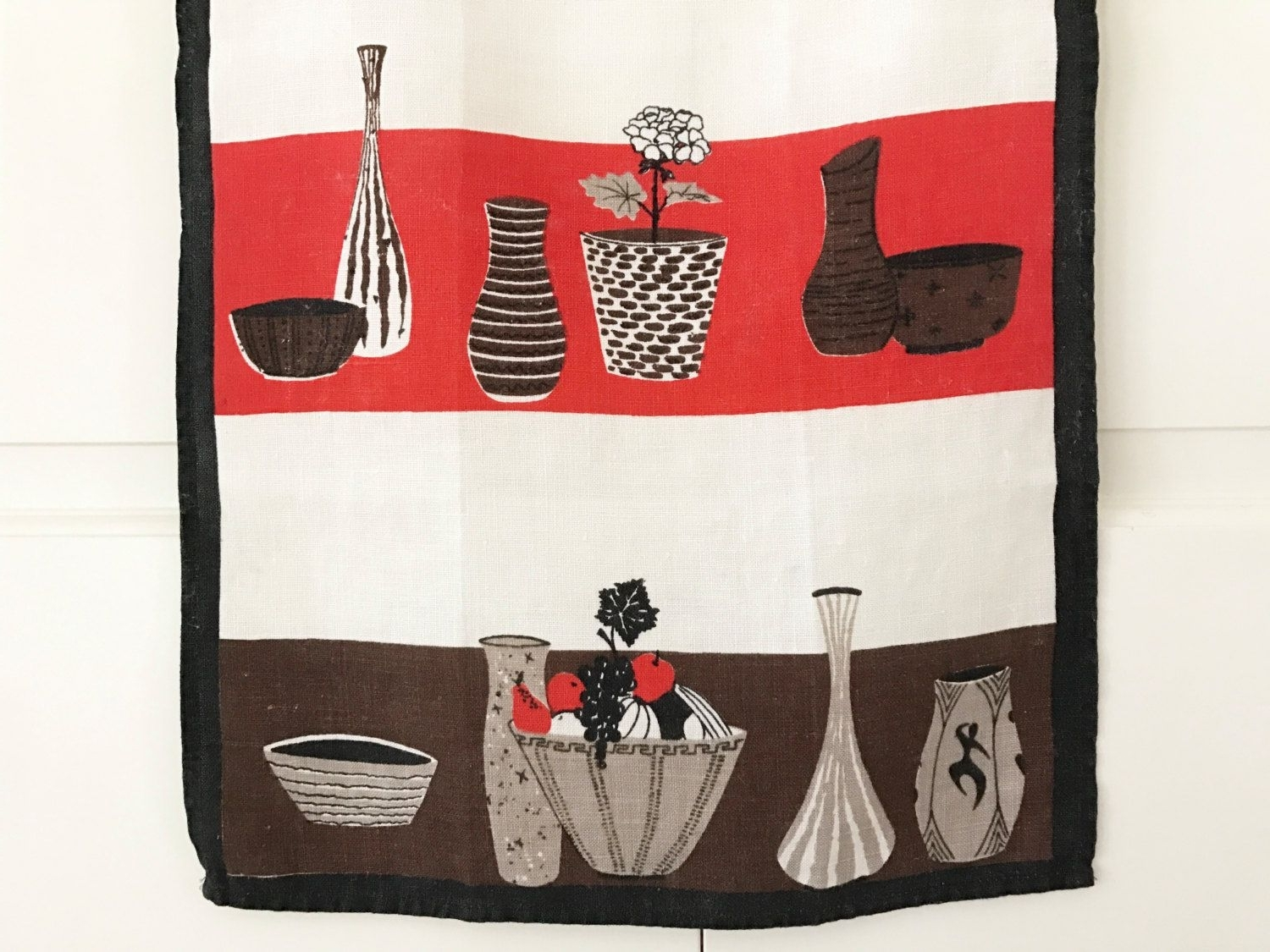 Mid Century Modern, Tea Towel, Cool Ceramic Vases, Bowls, Linen Within Widely Used Mid Century Textile Wall Art (View 3 of 15)