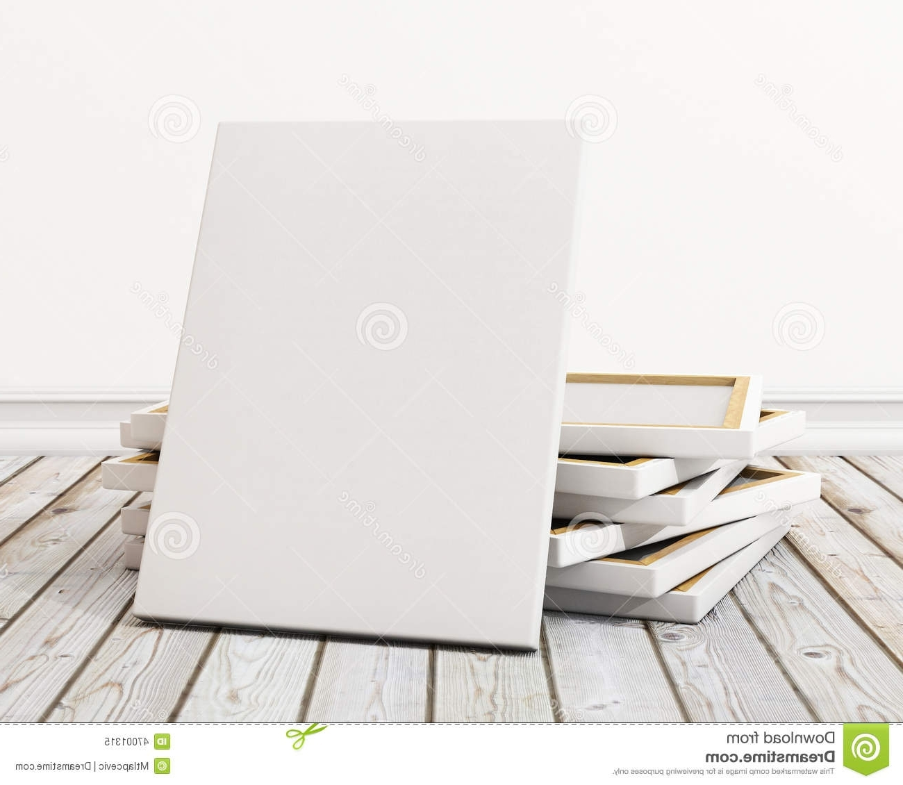 Mock Up Blank Canvas Or Poster With Pile Of Canvas On Floor And For Famous Mockup Canvas Wall Art (View 6 of 15)