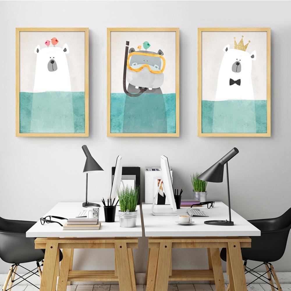 Modern Canvas Painting Art Nordic Kawaii Animals Bear Hippo Poster Throughout Trendy Modern Nursery Canvas Wall Art (View 6 of 15)