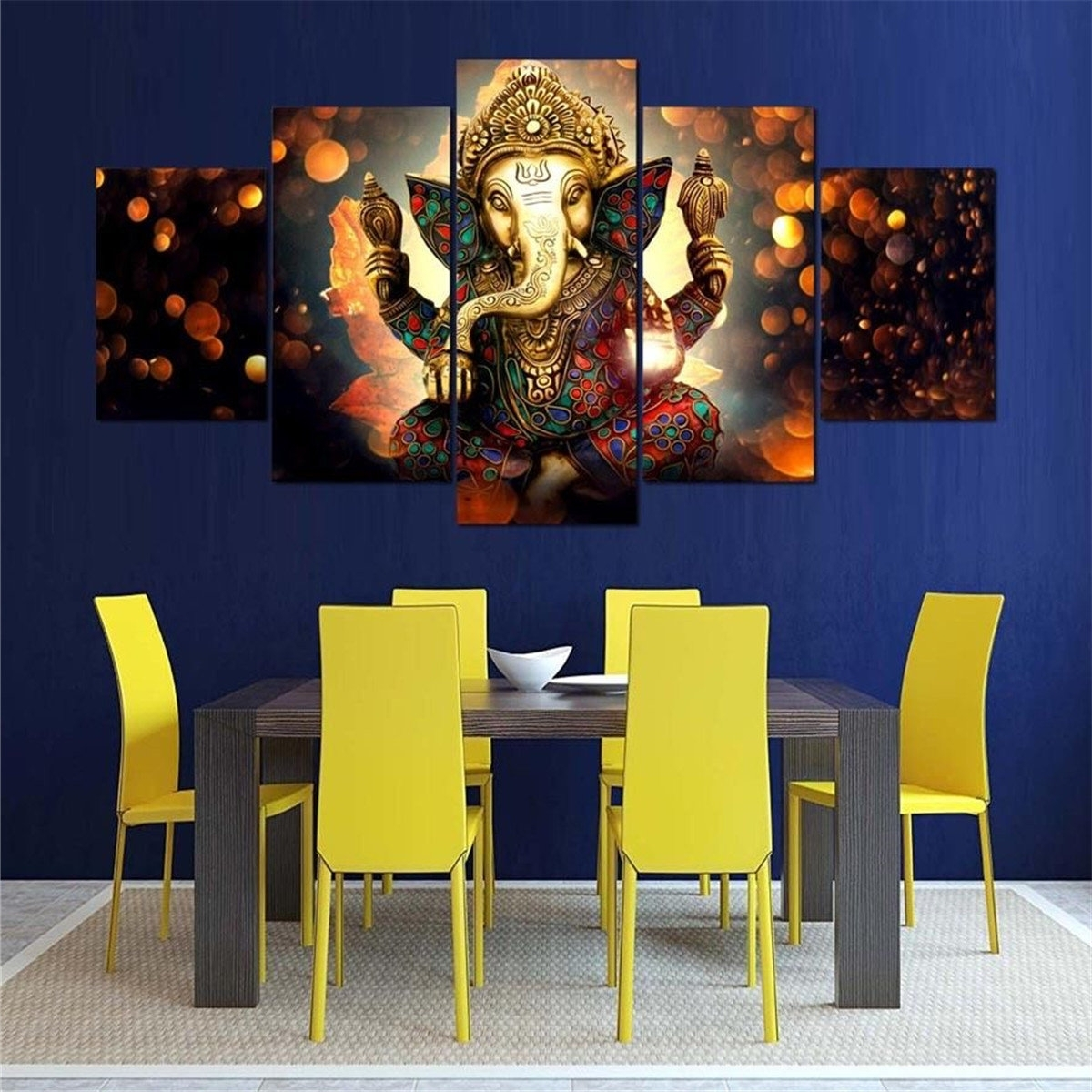Modern Canvas Wall Art Throughout Most Recent 5Pcs Ganesha Painting Abstract Print Modern Canvas Wall Art Poster (View 5 of 15)