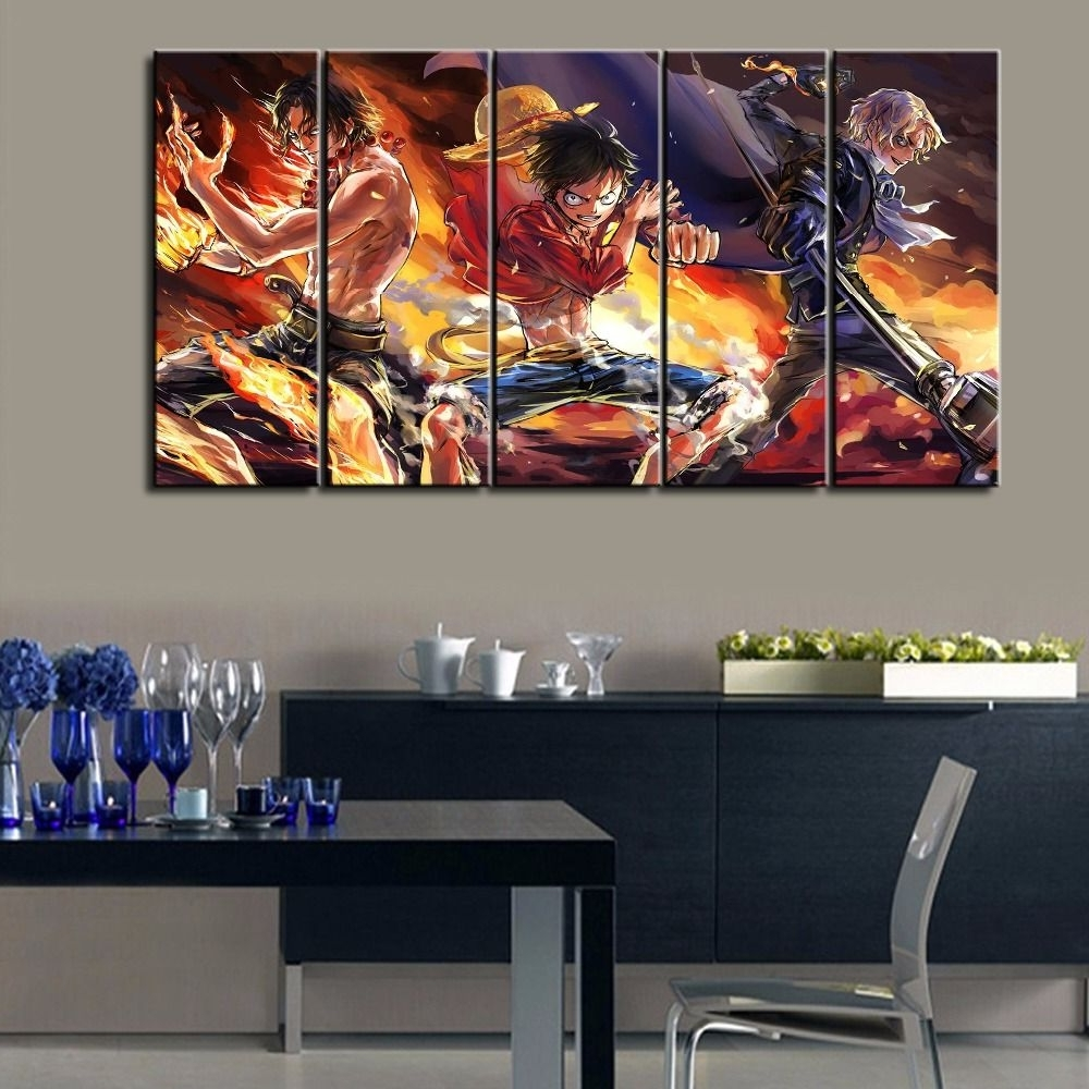 Modern Canvas Wall Art Within Most Up To Date Hot Sel 5 Pcs Modern Decorative One Piece Cuadros Painting Canvas (View 12 of 15)