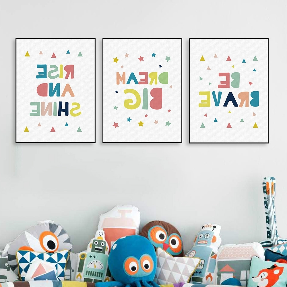 Modern Color Motivational Dream Quotes A4 Poster Wall Art Picture Inside Best And Newest Modern Nursery Canvas Wall Art (View 12 of 15)