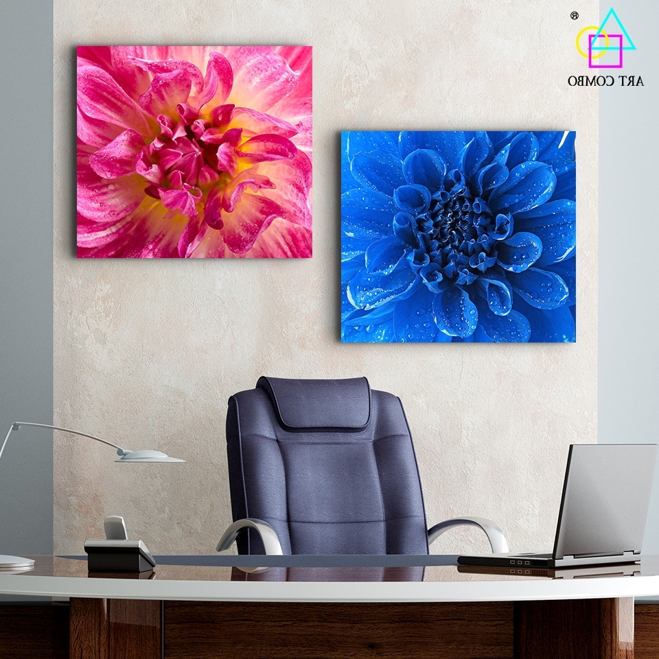 Modern Fabric Wall Art Inside Current Modern Canvas Painting Blue And Pink Blooming Flower Wall Art (View 9 of 15)