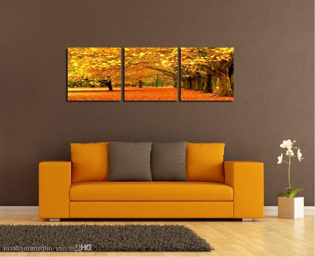 Modern Landscape Painting Canvas Wall Art Framed Ideas For Living With Well Known Orange Canvas Wall Art (View 15 of 15)
