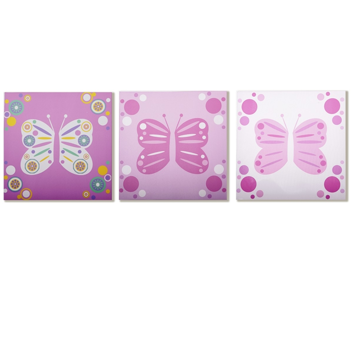 Modern Littles – Rose Butterfly – Canvas Wall Art – 3 Pc (View 11 of 15)