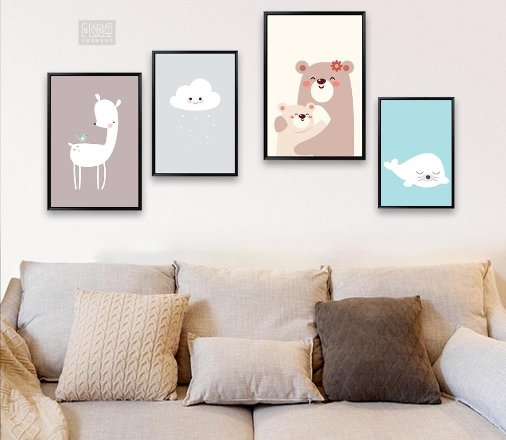 Modern Nordic Cute Cloud Canvas Painting On Canvas Wall Art For Preferred Modern Nursery Canvas Wall Art (View 14 of 15)
