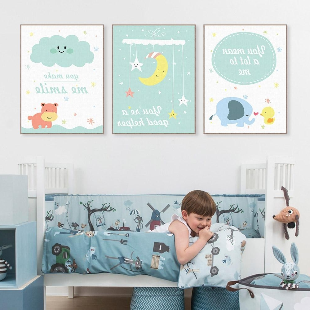 Modern Nursery Canvas Wall Art With Best And Newest 2018 Modern Kawaii Animals Hippo Moon Quotes Canvas A4 Art Print (View 7 of 15)