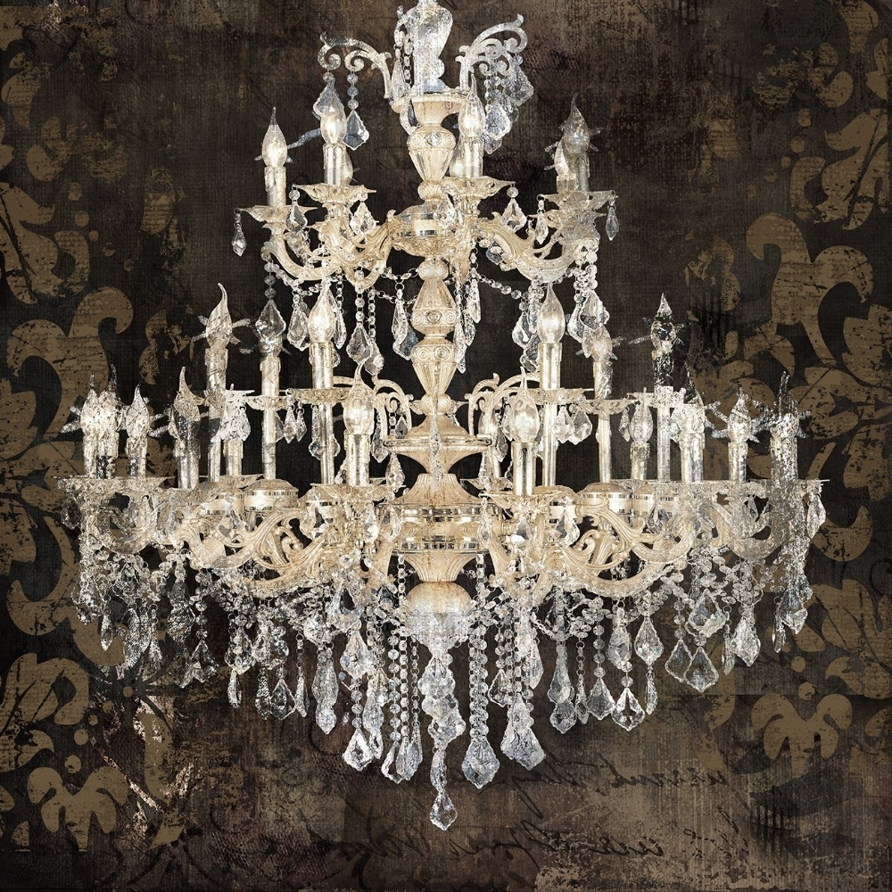 Modern Still Life Painting Canvas Art Crystal Chandelier Pattern Intended For Latest Chandelier Canvas Wall Art (View 7 of 15)