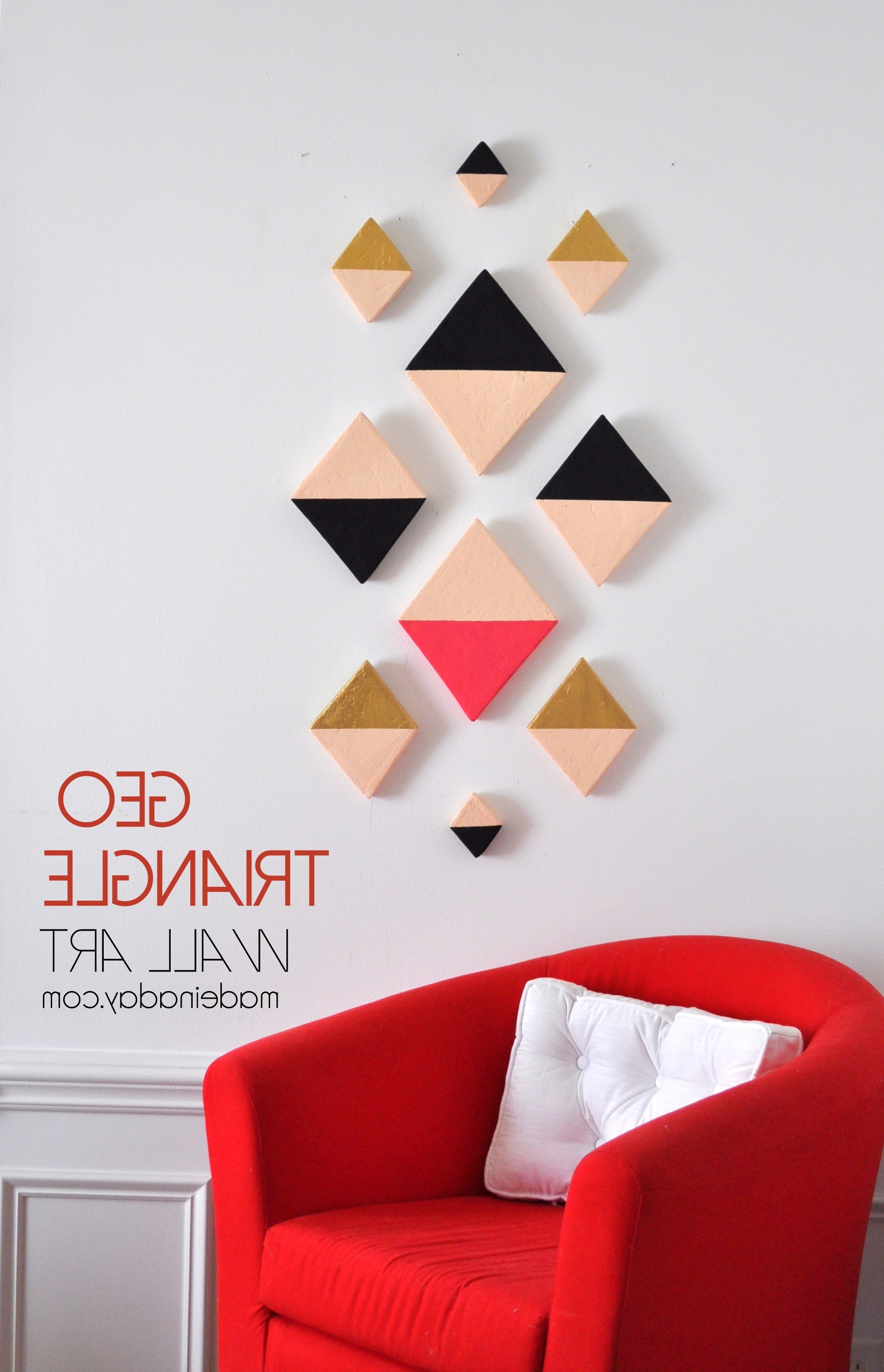 Modern Triangle Geo Wall Art, Foam Discs Cut Into Triangles, Aztec With Current Aztec Fabric Wall Art (View 10 of 15)