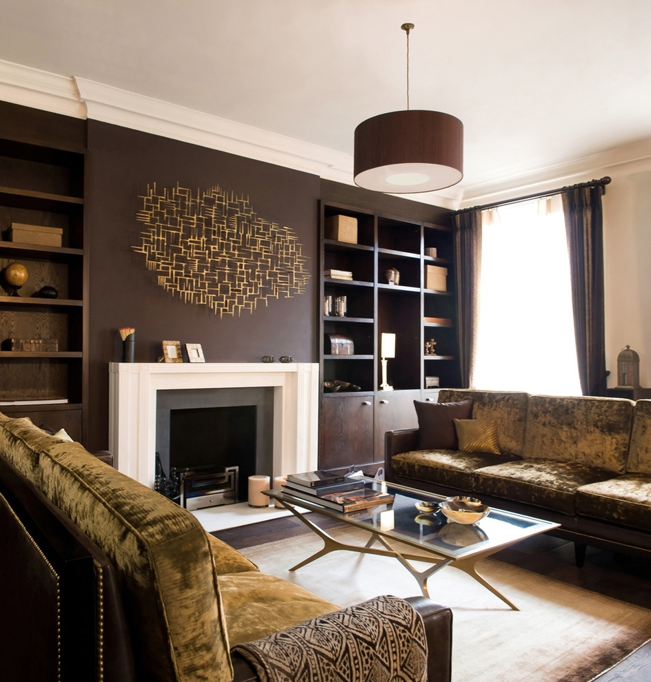 Modern Wall Accents Pertaining To Latest Metal Wall Art With Built In Bookshelves Living Room Contemporary (View 5 of 15)