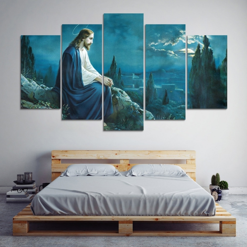 Modular Picture Wall Canvas Art Print 5 Panel Jesus Painting Pertaining To 2017 Jesus Canvas Wall Art (View 12 of 15)