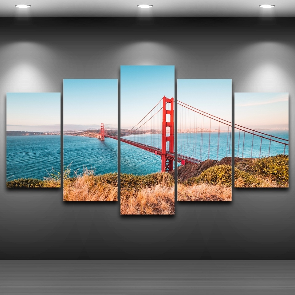 Modular Poster Wall Art Canvas Hd Printed Home Decor Frame 5 With Well Liked Golden Gate Bridge Canvas Wall Art (View 7 of 15)