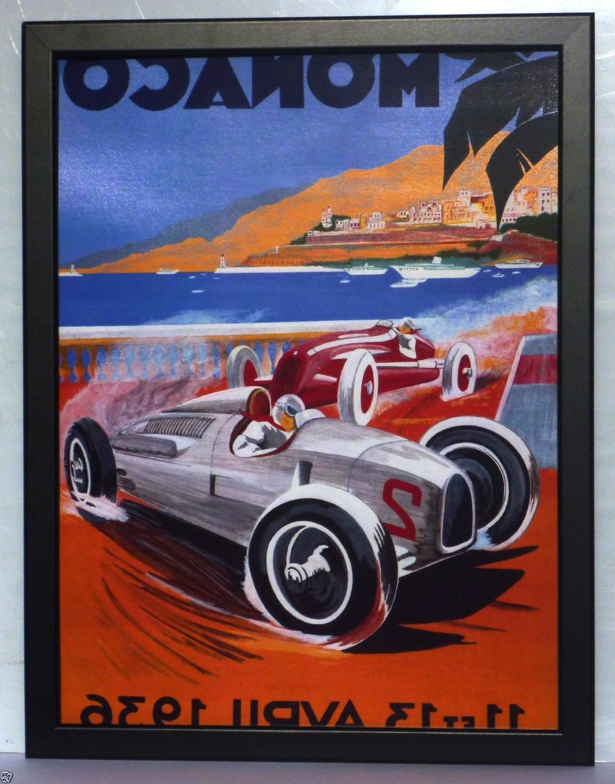 Monaco 1958 Grand Prix F1,monte Carlo Poster Large Framed Print Within Newest Framed Art Deco Prints (View 6 of 15)