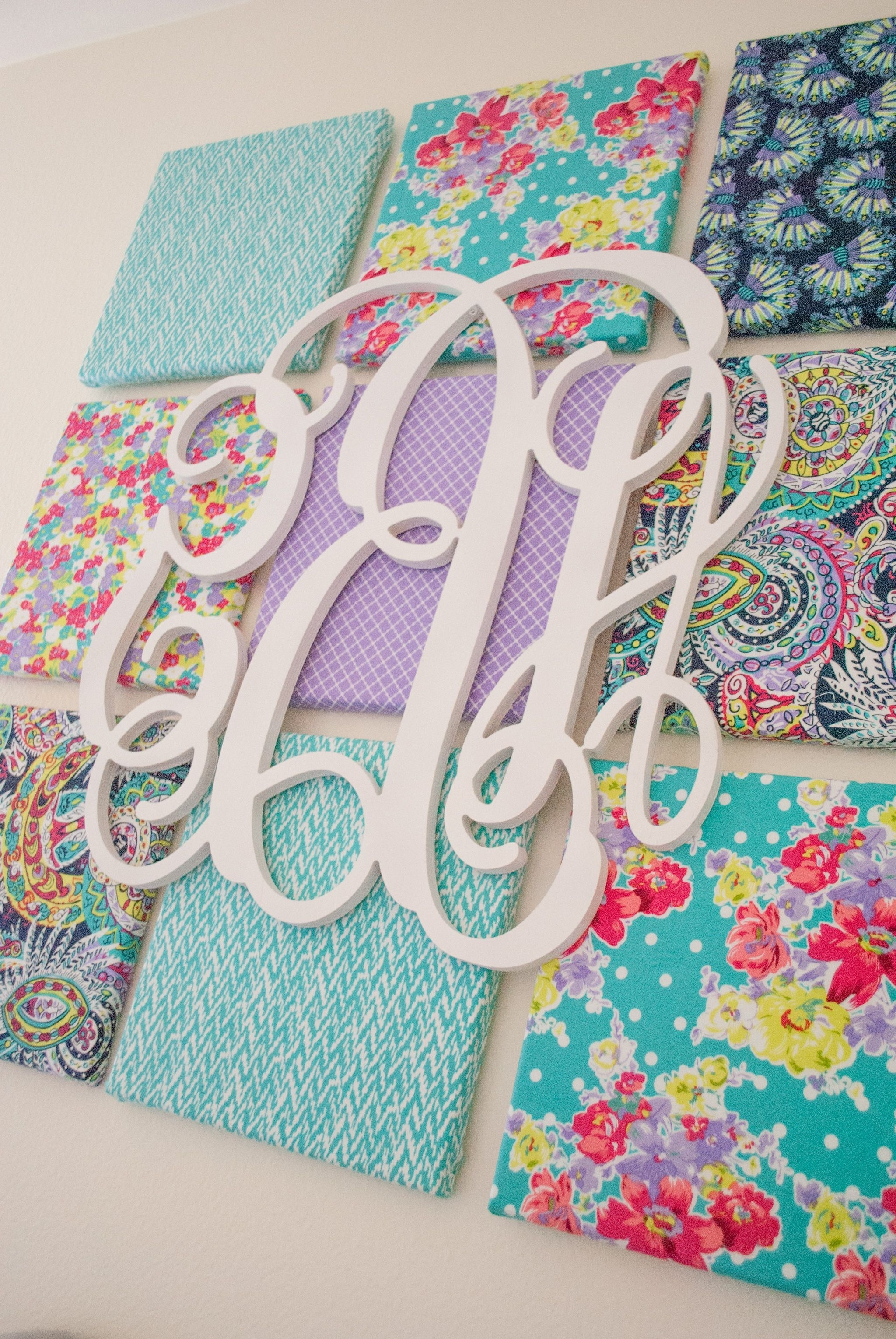 Monogram Wall, Kids Rooms And Monograms In Fabric Wall Art For Nursery (View 8 of 15)
