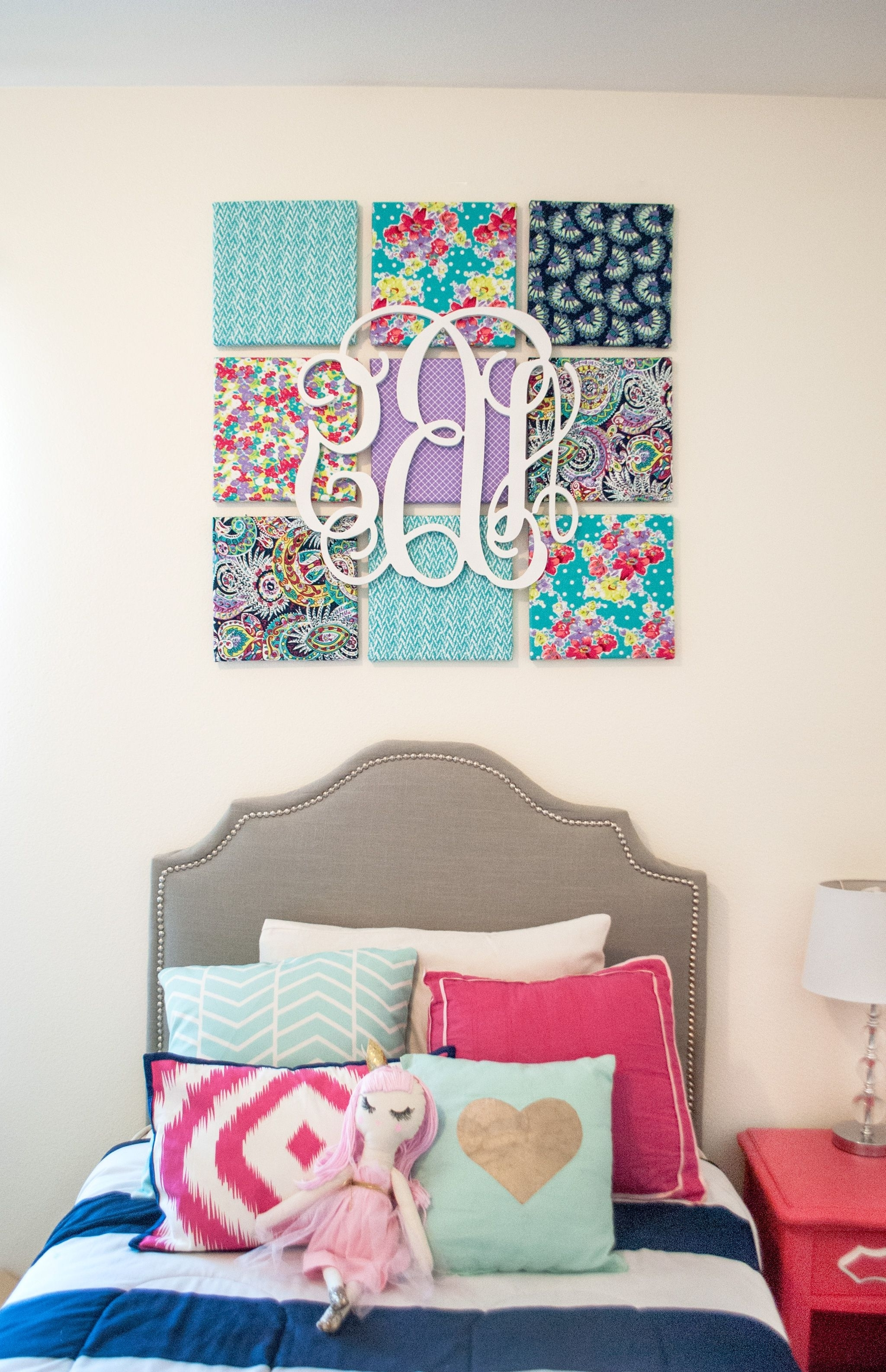 Monogram Wall, Kids Rooms And Monograms Throughout Fabric For Canvas Wall Art (View 4 of 15)