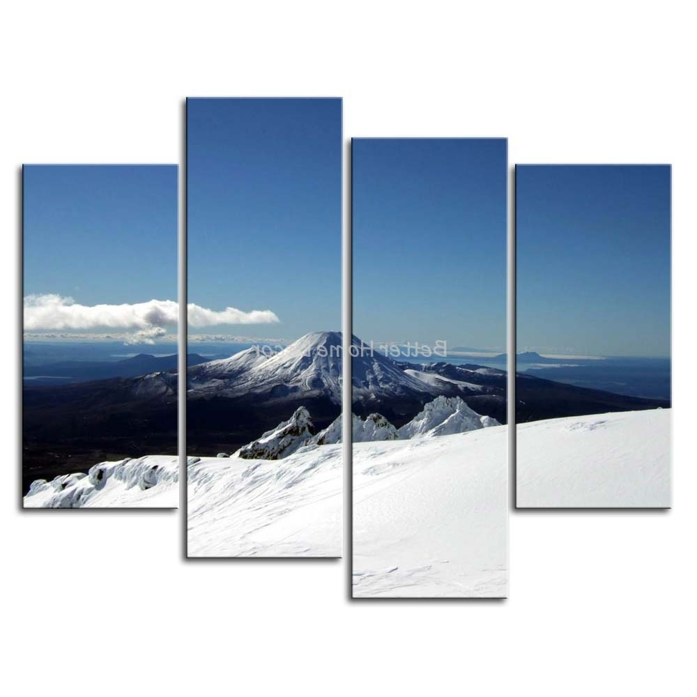 Most Current 3 Piece Blue Wall Art Painting Mount Ruapehu Under Blue ,new In New Zealand Canvas Wall Art (View 4 of 15)