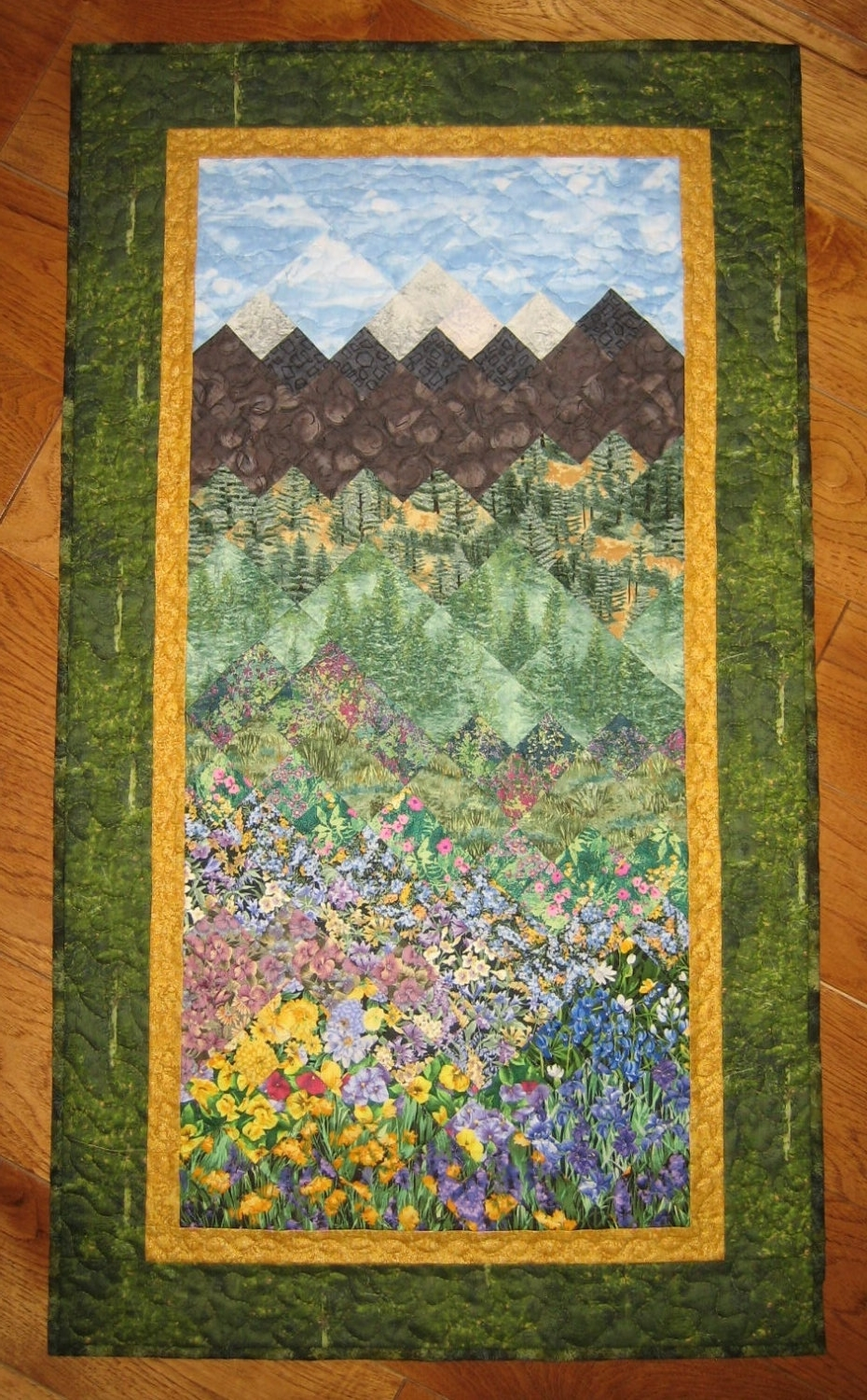 Most Current Art Quilt Fabric Wallhanging Pine Trees Mountain Flowers Handmade Intended For Quilt Fabric Wall Art (View 7 of 15)