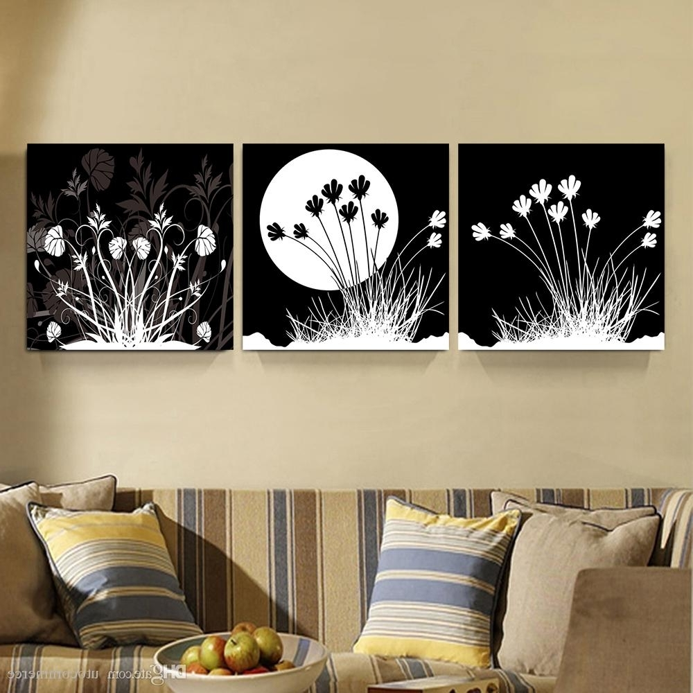Most Current Black And White Canvas Wall Art Pertaining To 2018 Peace Large Modern 3 Panels Black White Moon Flower Landscape (View 7 of 15)