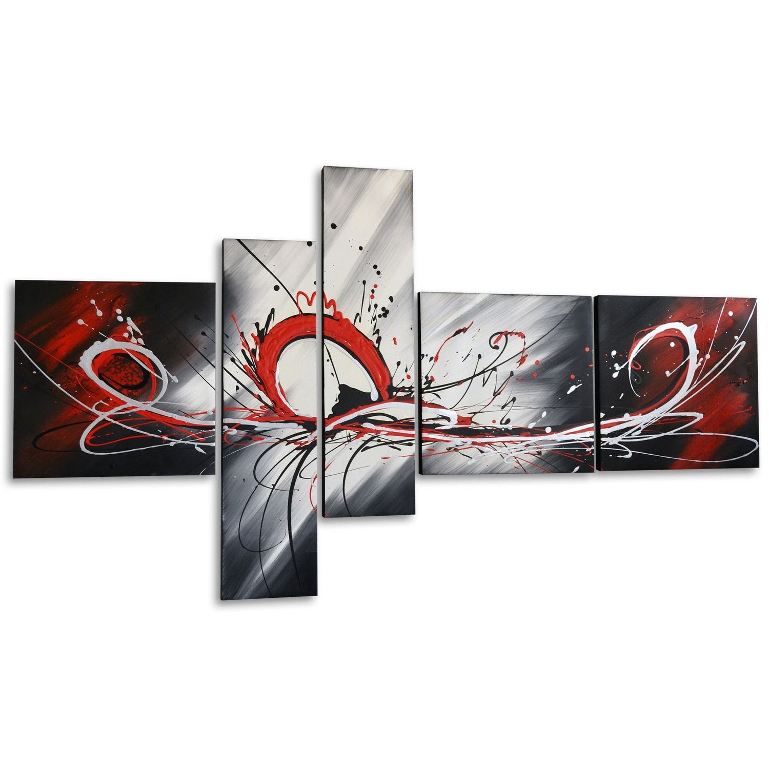 Most Current Canvas Wall Art At Walmart With Regard To Design Art – Red Splash  Hand Painted Textured Oil Painting On (View 8 of 15)